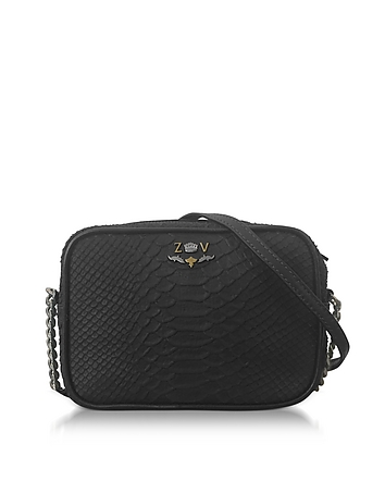 Zadig & Voltaire - Black Embossed Leather Foldable XS Boxy Savage Crossbody Bag