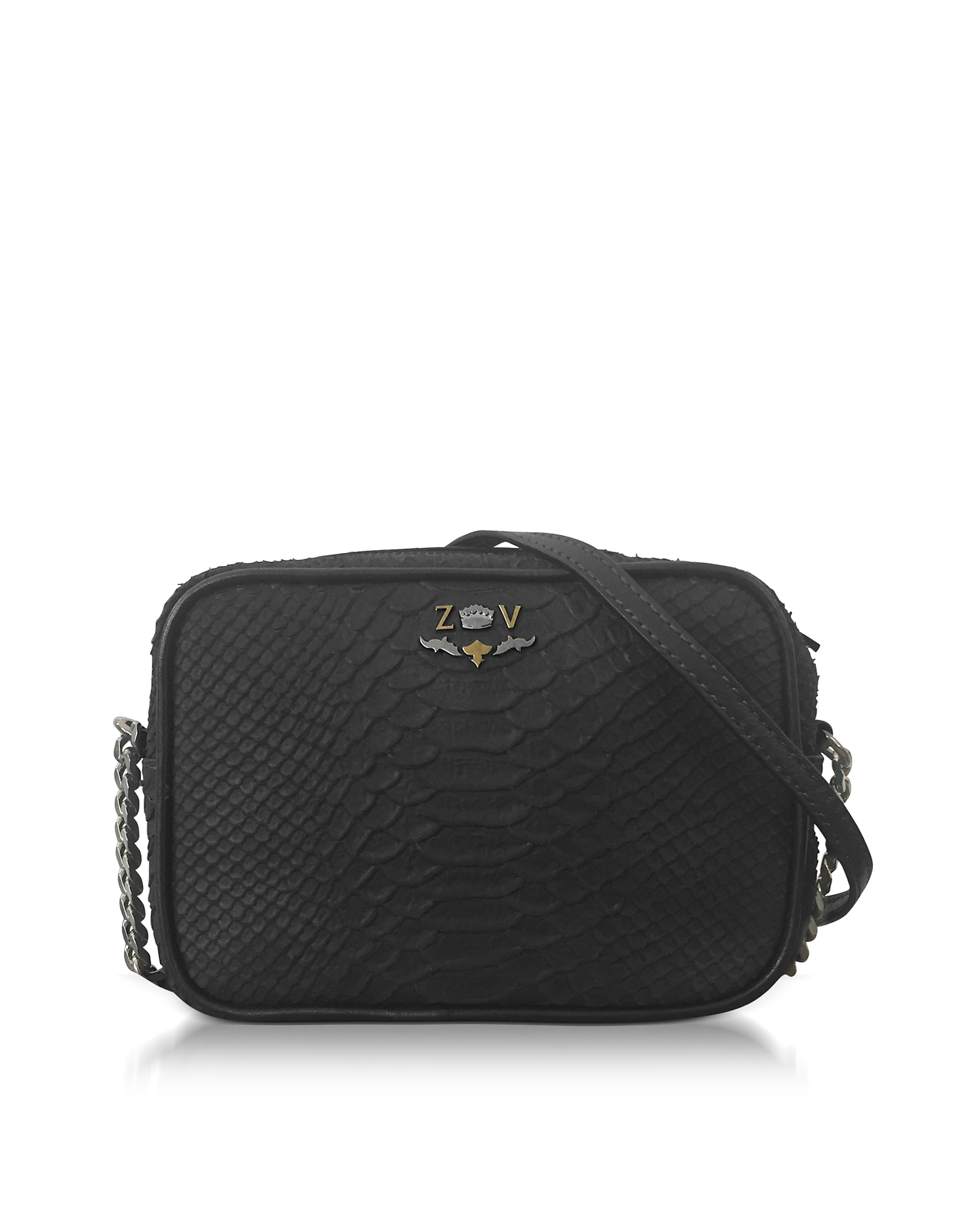 Black Embossed Leather Foldable XS Boxy Savage Crossbody Bag