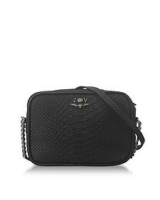 Black Embossed Leather Foldable XS Boxy Savage Crossbody Bag - Zadig & Voltaire