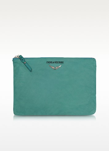 Uma Zippered Aqua Leather Clutch - Zadig & Voltaire