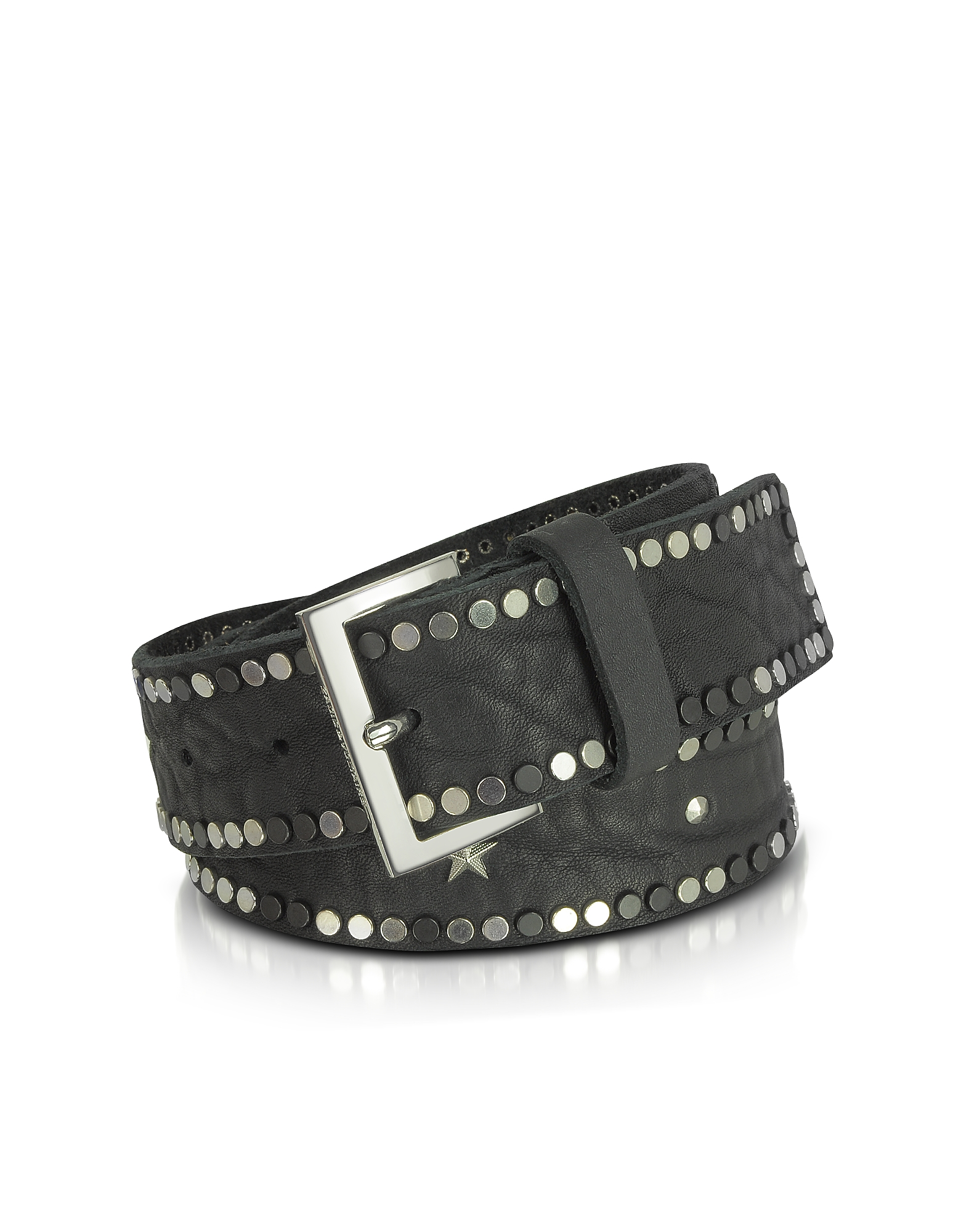 Zadig & Voltaire Women's Belts, Black Studded Leather Starlight Belt