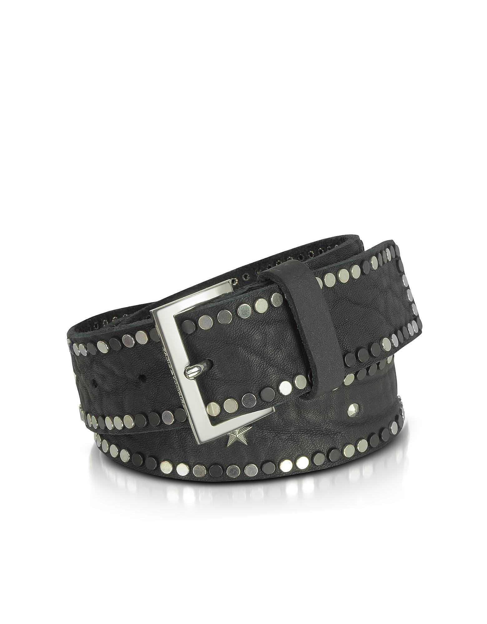 Фото Starlight - Черный Кожаный Ремень с Заклепками. Купить с доставкой