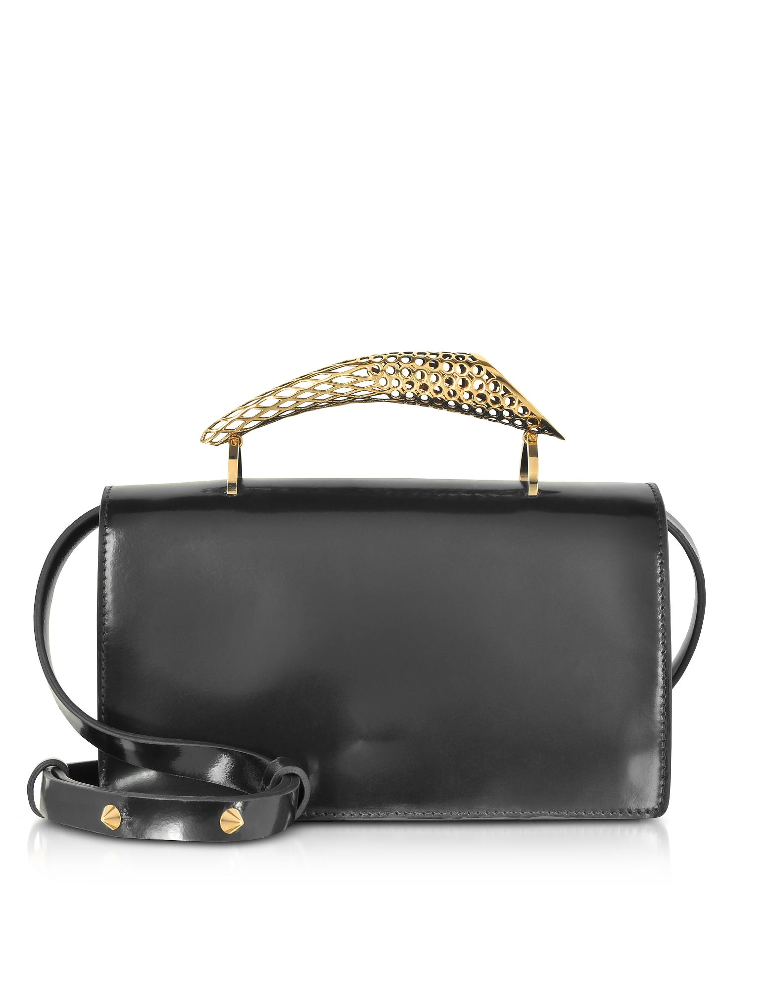 Maissa  Handbags Black Glossy Leather Middle Horn Shoulder Bag w/Gold Brass Middle Horn