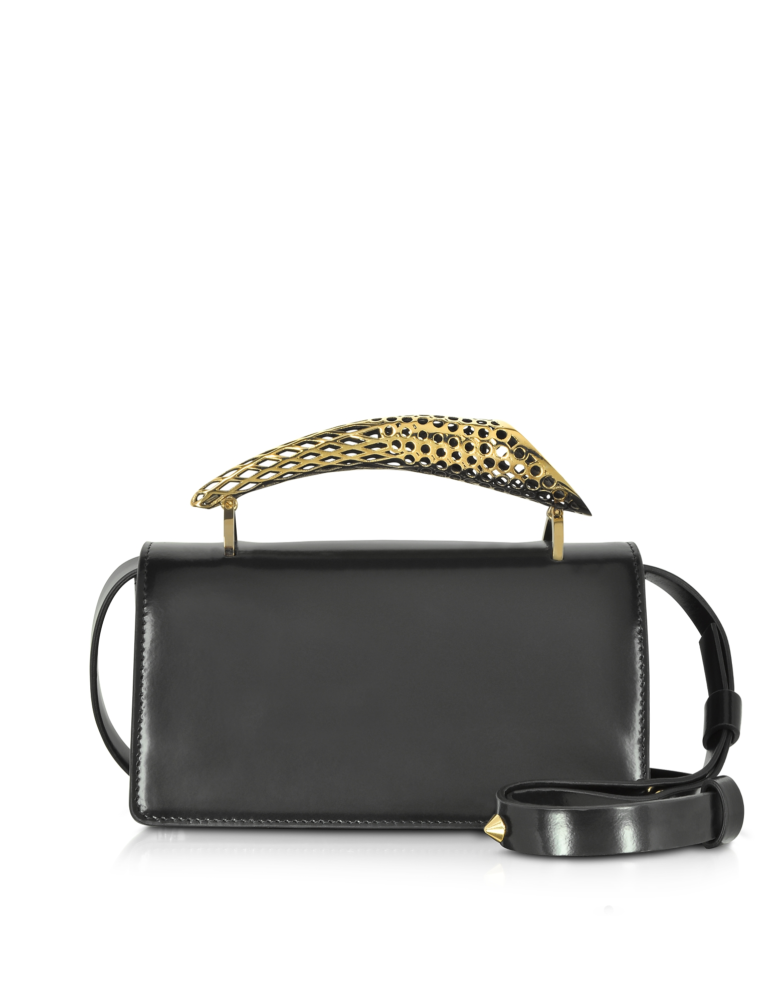 Maissa  Handbags Black Glossy Leather Mini Shoulder Bag w/Gold Brass Mini Horn