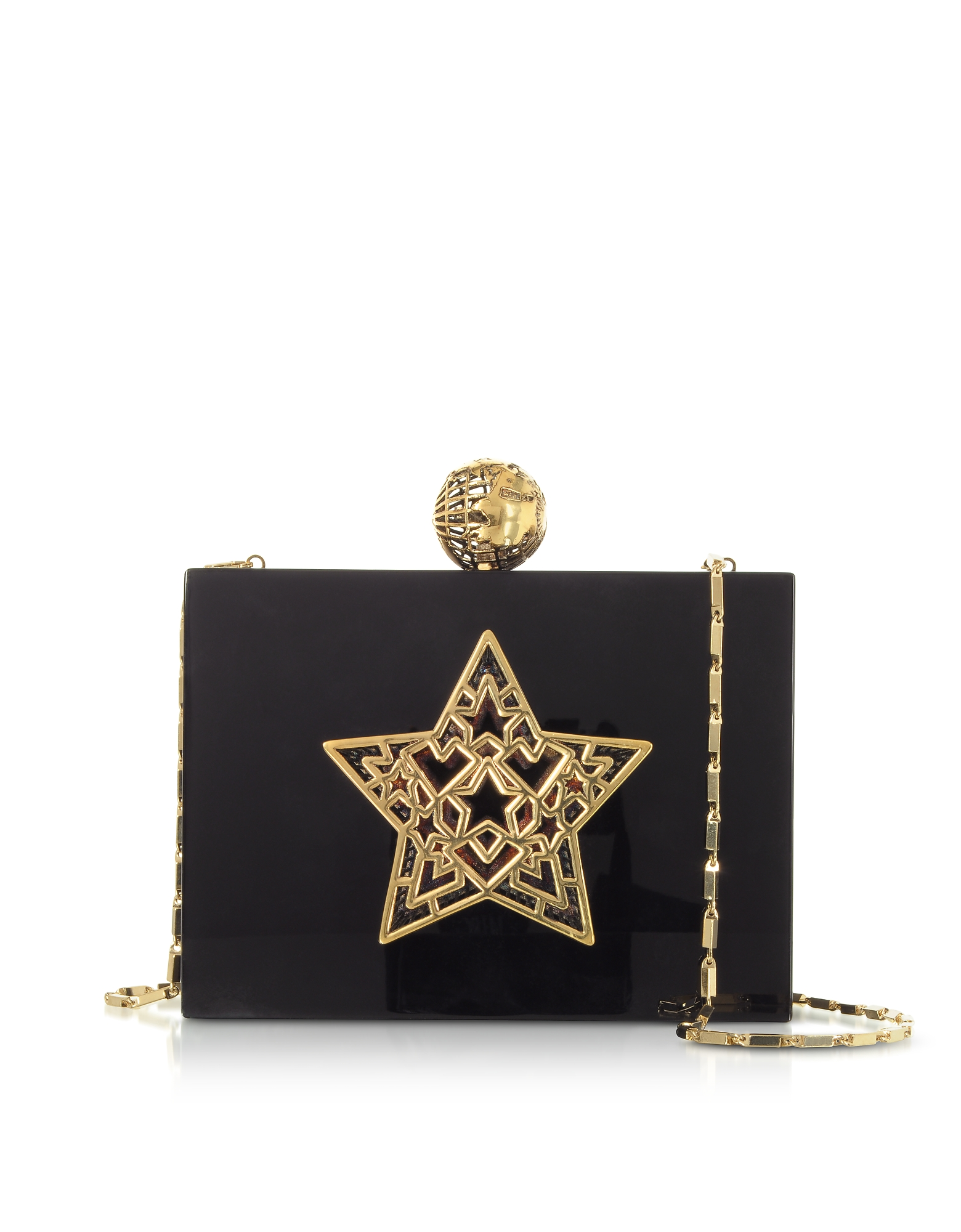 Maissa  Handbags Black Plexiglass Lady Rockstar Clutch w/Chain Strap