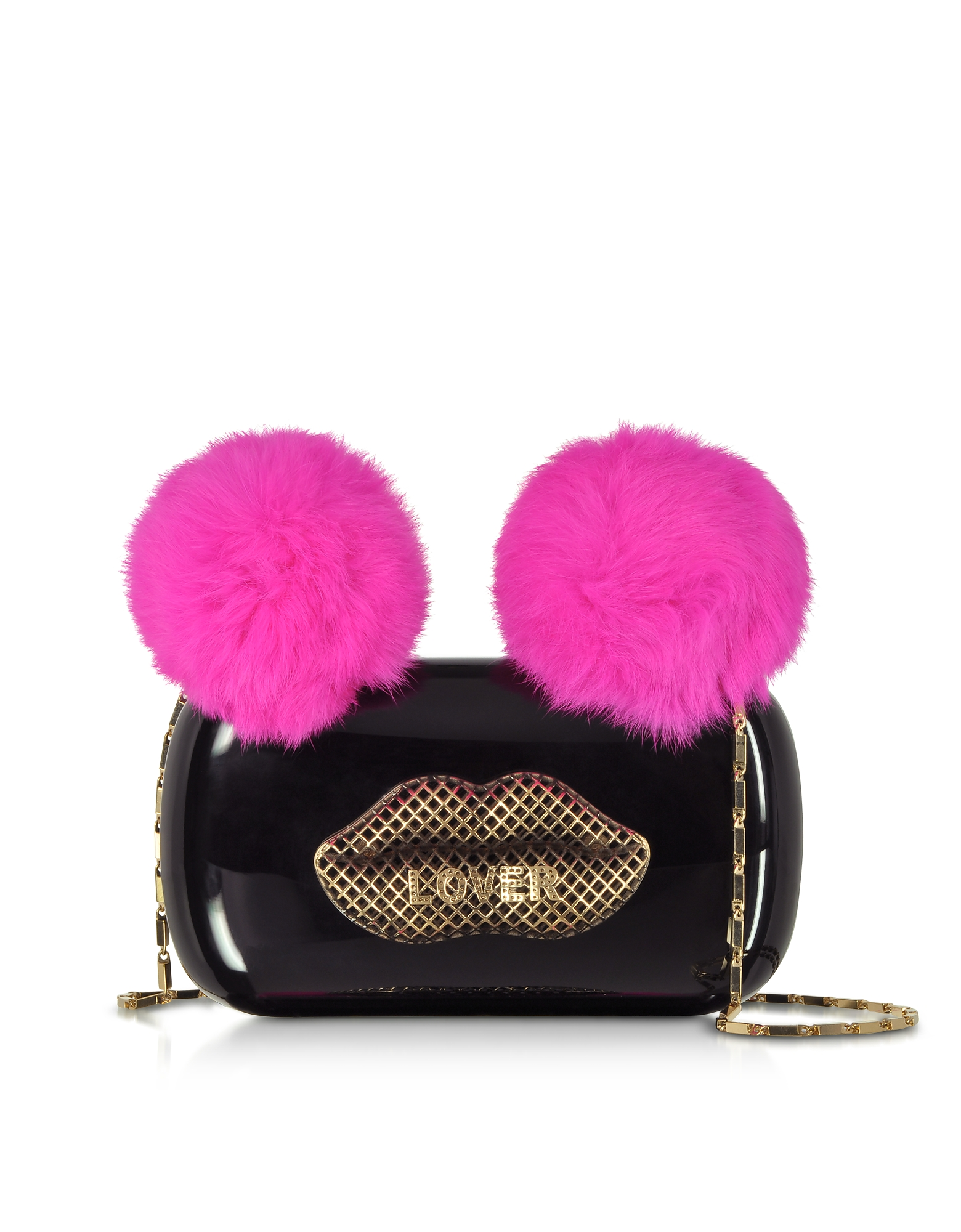 Maissa  Handbags Black Plexiglass Lover Clutch w/Pink Fur Pompoms