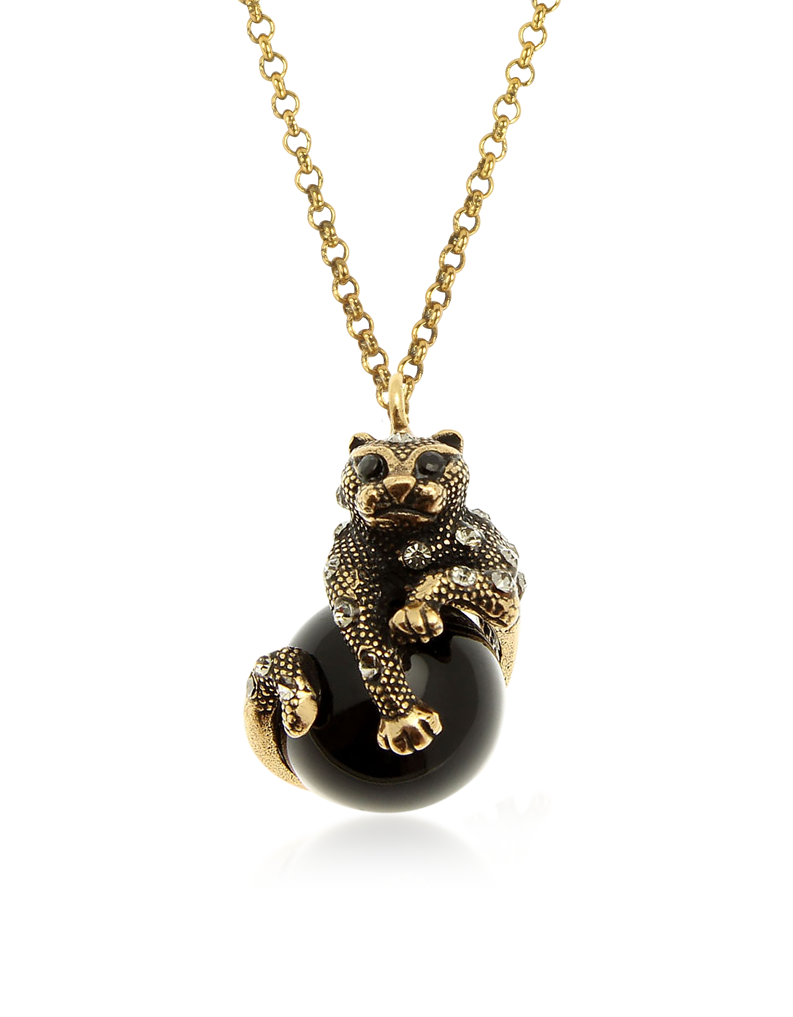 Forzieri coupon: Alcozer & J  Necklaces Black Panther Necklace w/Onyx Swarovski Crystals and Sapphire