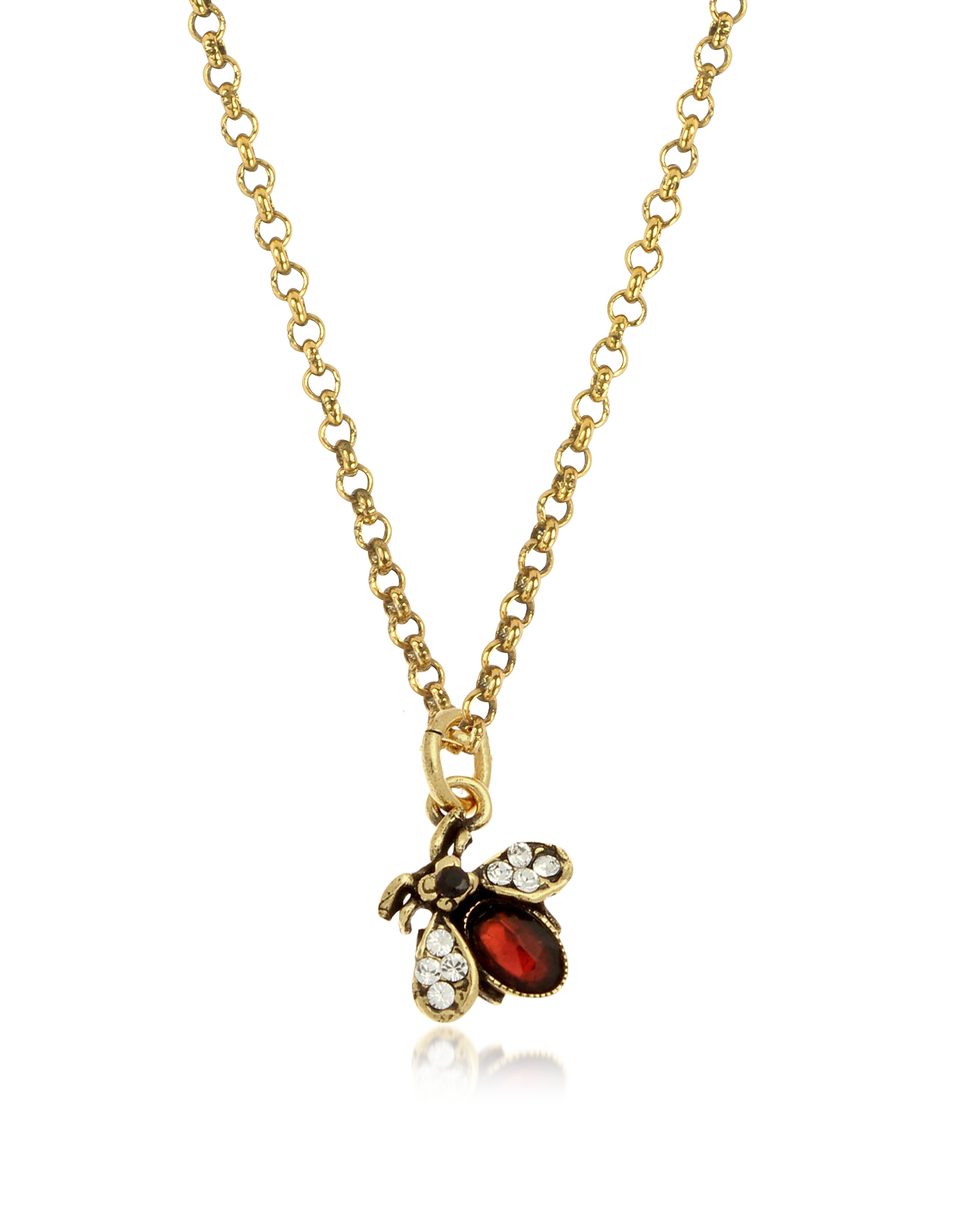 Forzieri coupon: Alcozer & J  Necklaces Golden Brass Necklace with a Bee-shaped Pendant