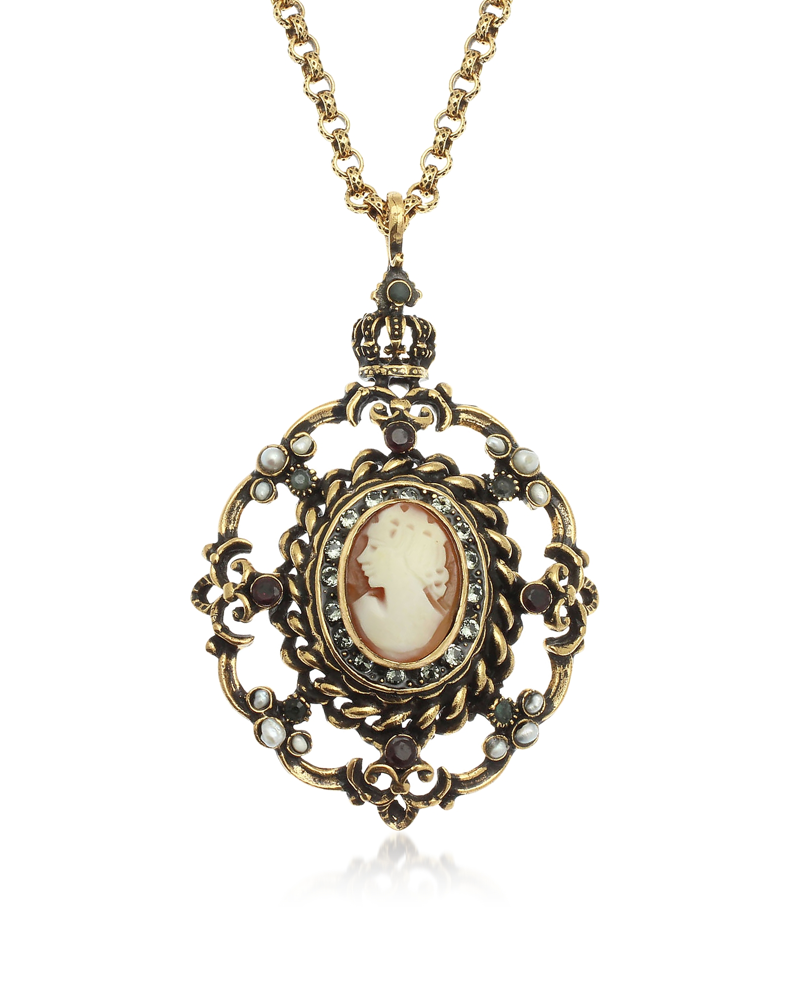Forzieri coupon: Alcozer & J  Necklaces Gilded Brass Necklace with Cameo Pendant