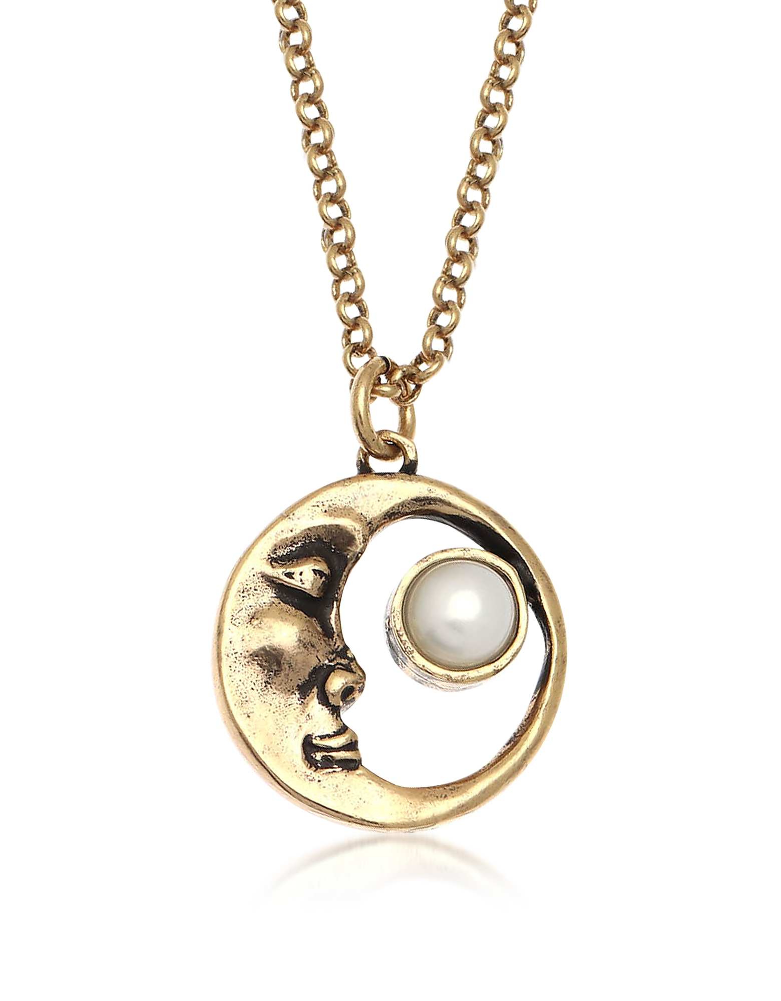 Forzieri coupon: Alcozer & J  Necklaces Moon Brass Necklace with Pearl