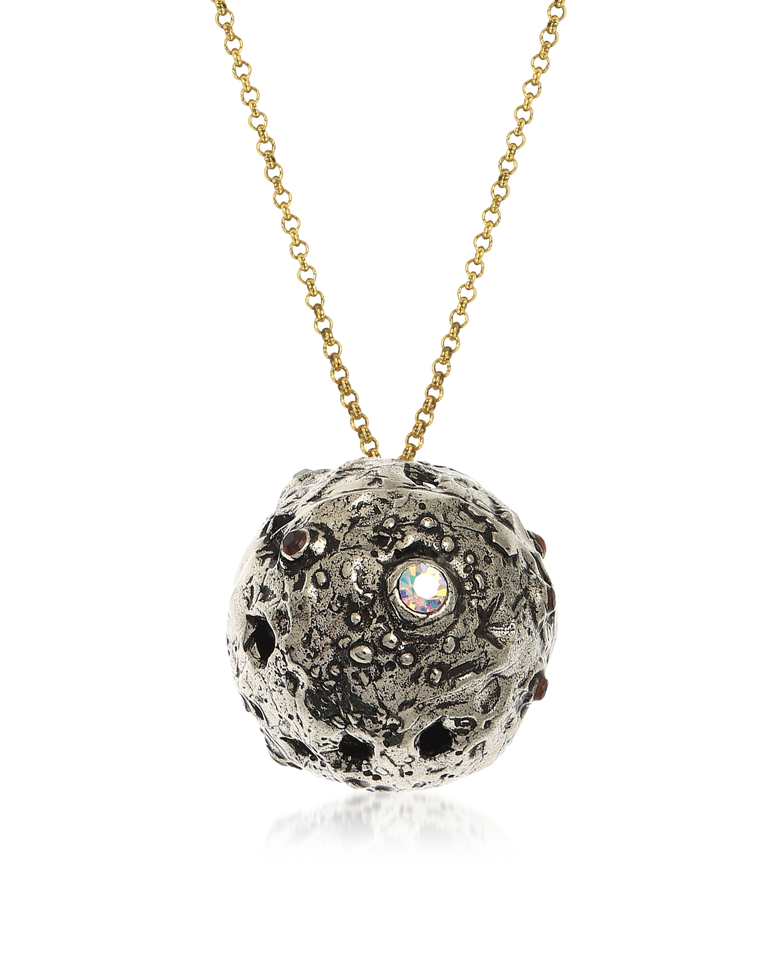 Forzieri coupon: Alcozer & J  Necklaces Silvered Brass Moon Necklace with Swarovski and Garnet.