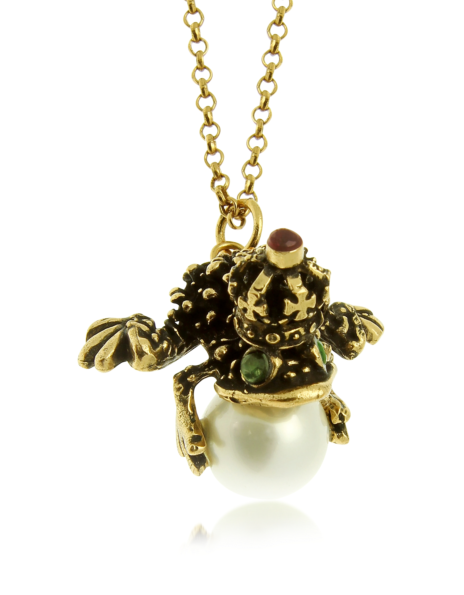 Forzieri coupon: Alcozer & J  Necklaces Glass Pearl Brass and Emerald Frog Pendant Necklace
