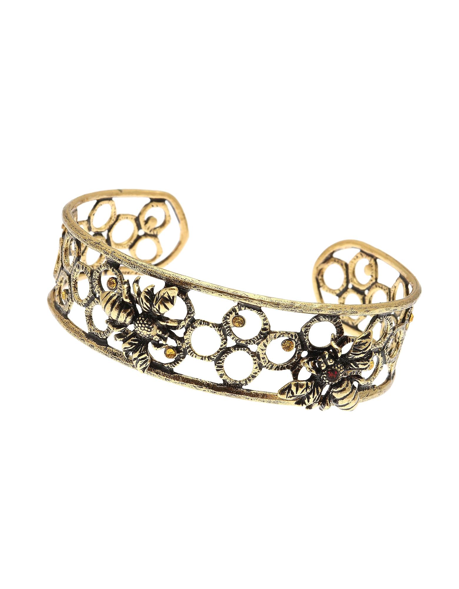 Forzieri coupon: Alcozer & J  Bracelets Castagno Golden Brass Bangle w/Swarovski and Garnet