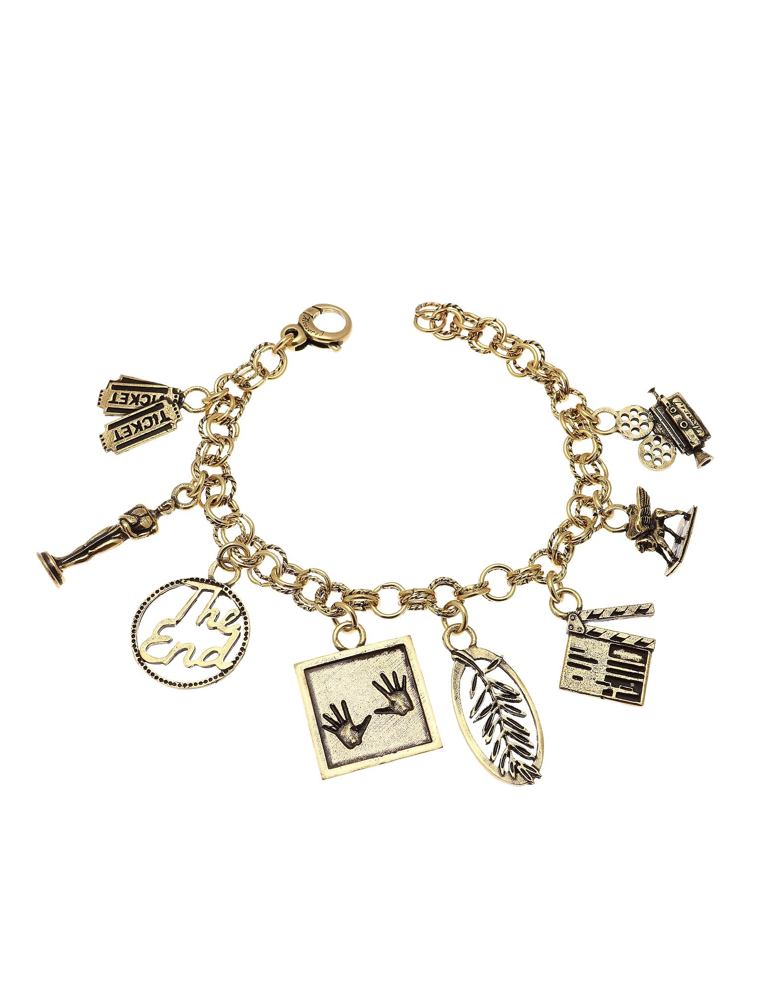 Forzieri coupon: Alcozer & J  Bracelets Cinema Golden Brass Bracelet w/Charms