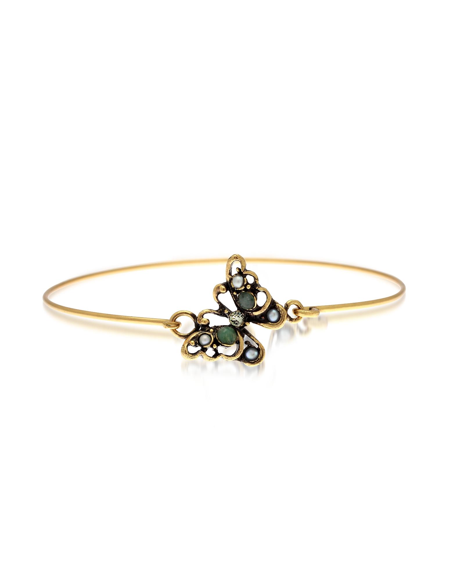 Forzieri coupon: Alcozer & J  Bracelets Butterfly Goldtone Brass Bangle w/Glass Pearls