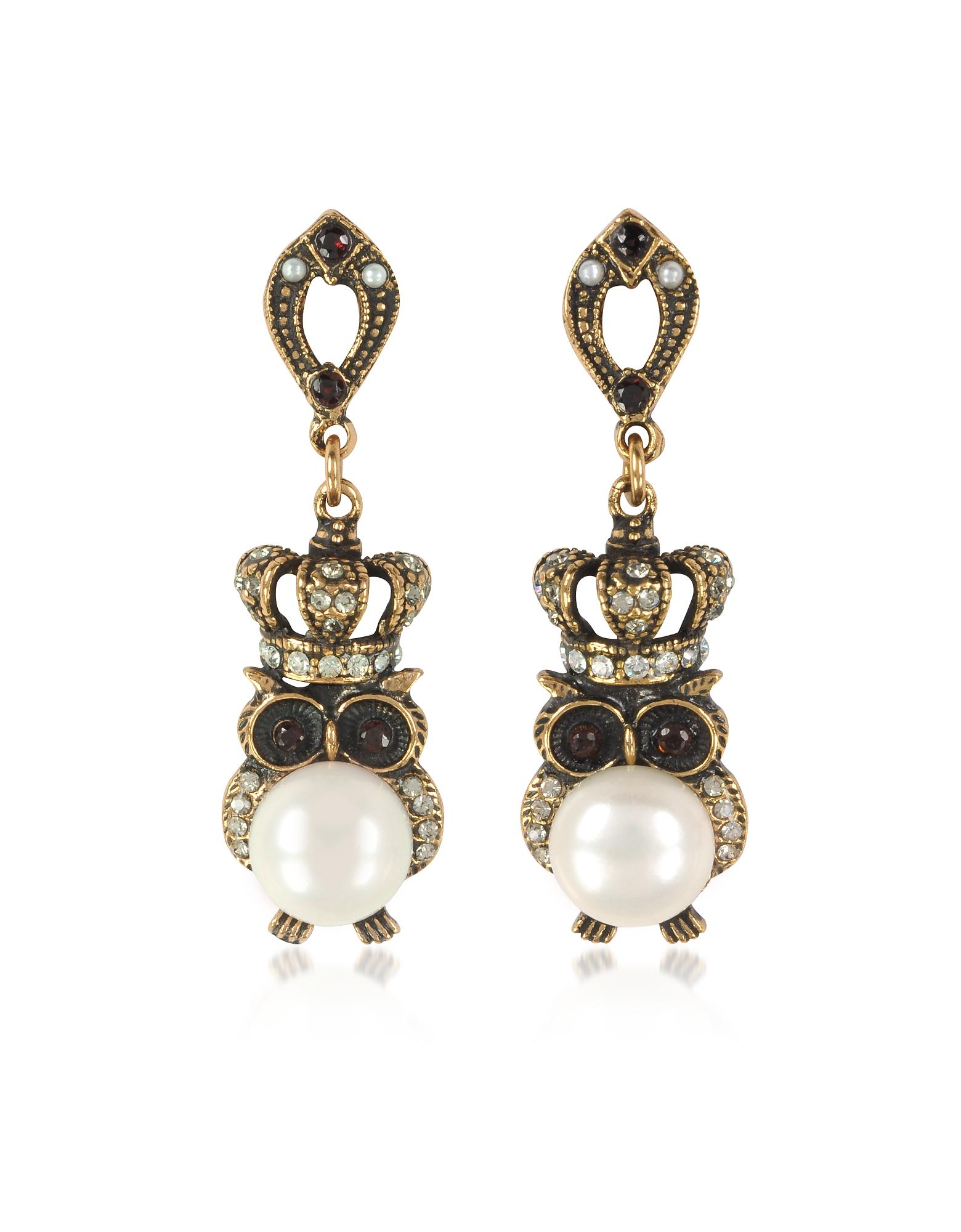 Forzieri coupon: Alcozer & J  Earrings Crowned Owl Earrings w/Pearls