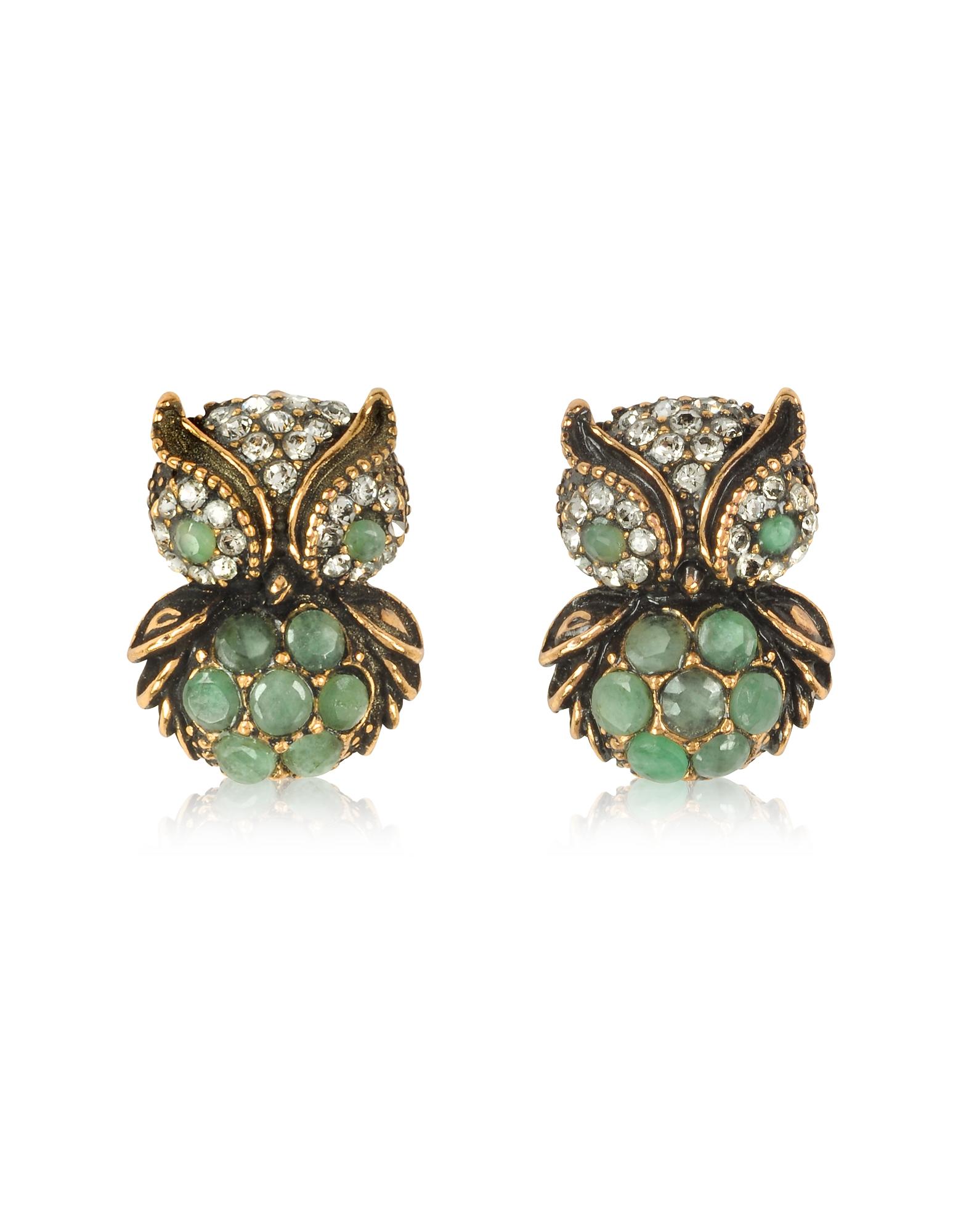 Forzieri coupon: Alcozer & J  Earrings Green Owl Earrings w/Stones