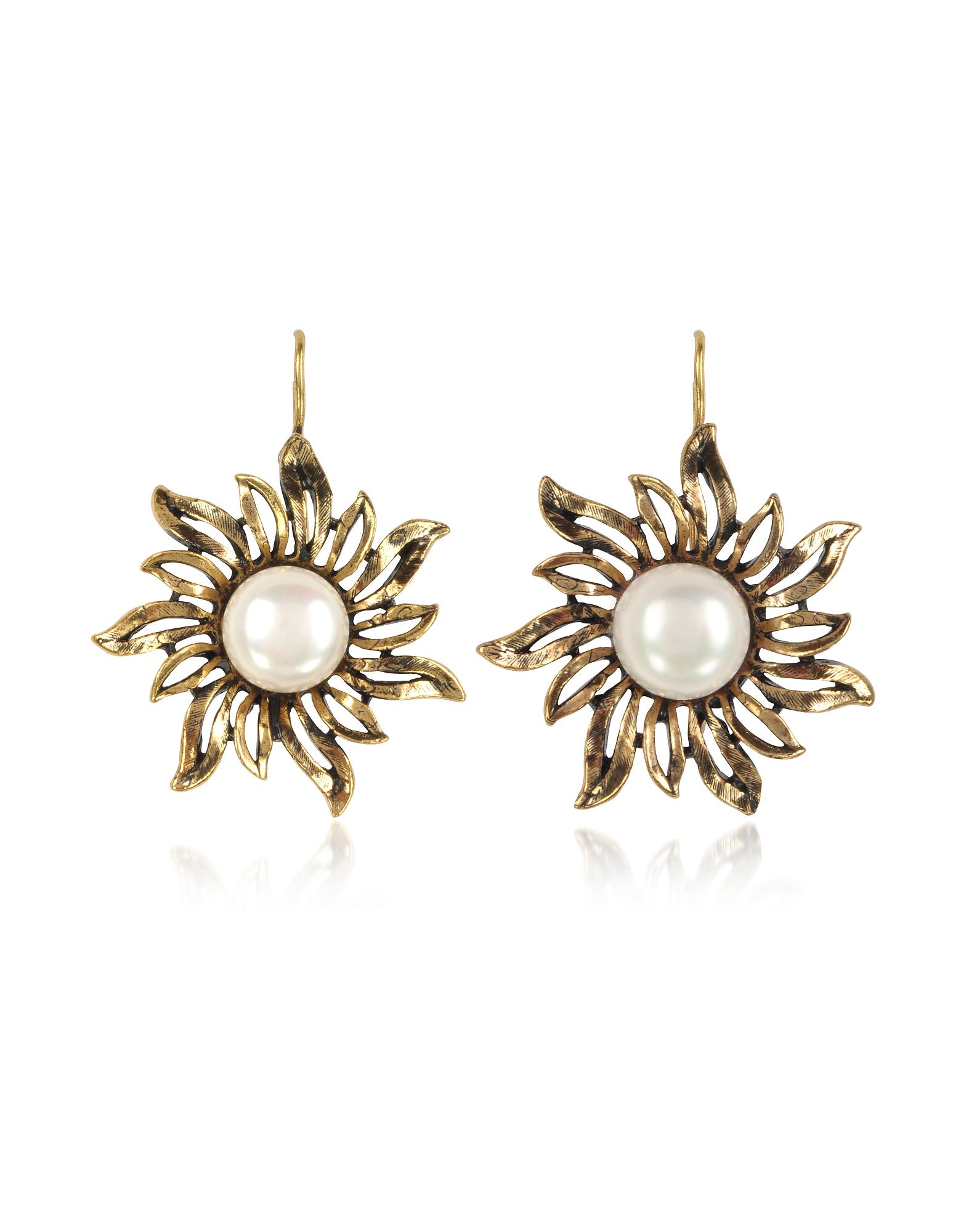 Forzieri coupon: Alcozer & J  Earrings Sun Earrings w/Pearls