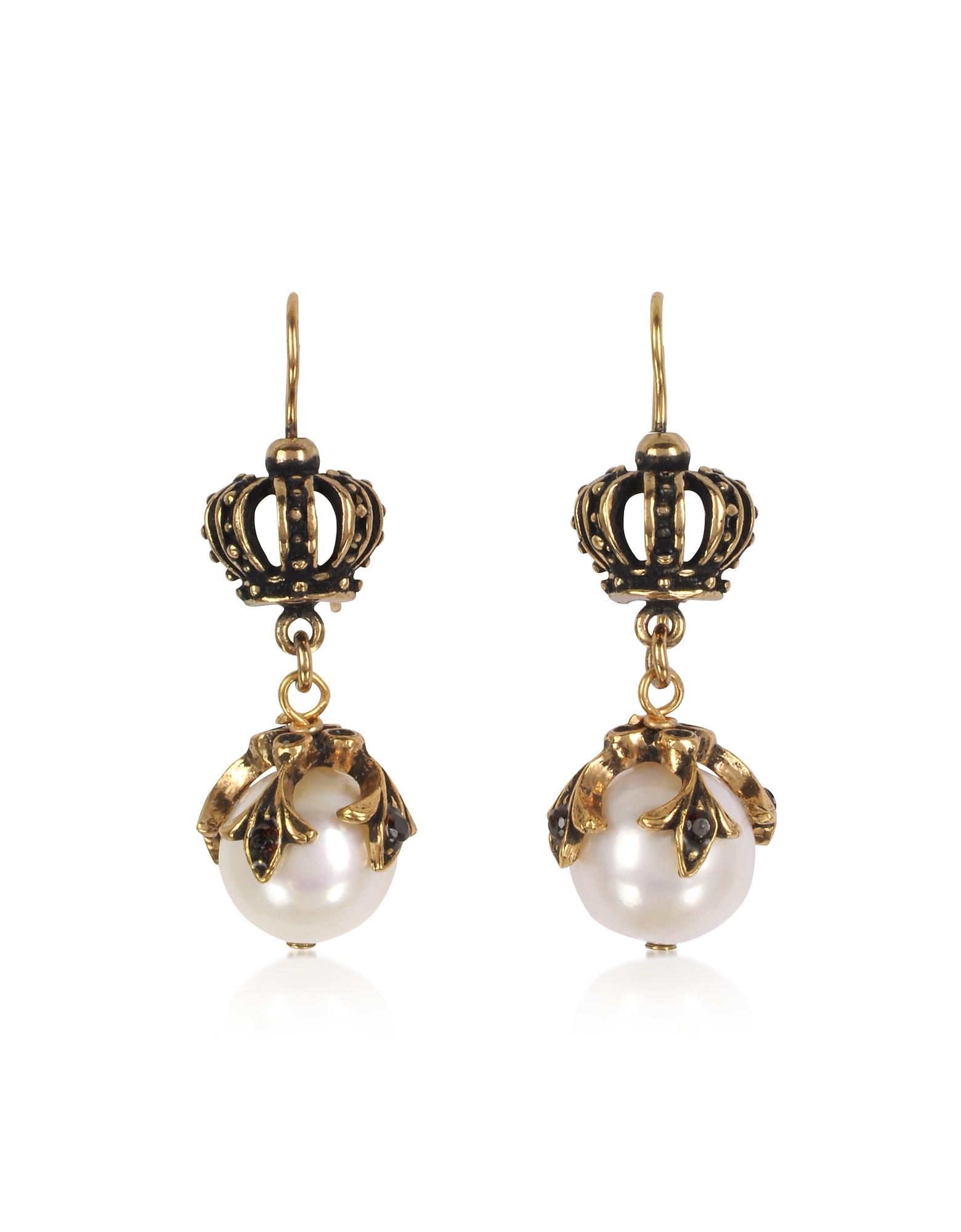 Forzieri coupon: Alcozer & J  Earrings Crown Earrings w/Pearls