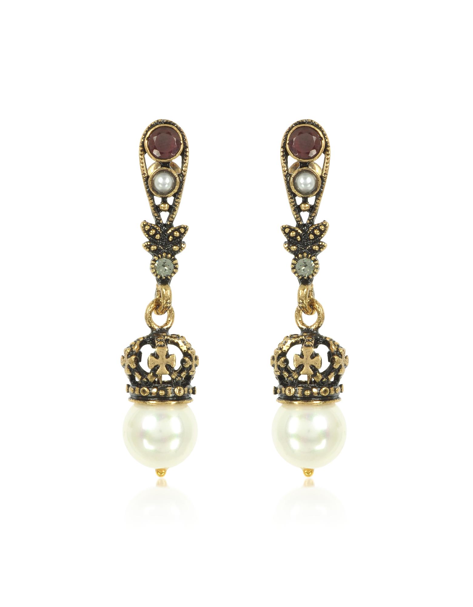 Forzieri coupon: Alcozer & J  Earrings Drop Crown Earrings w/Pearls