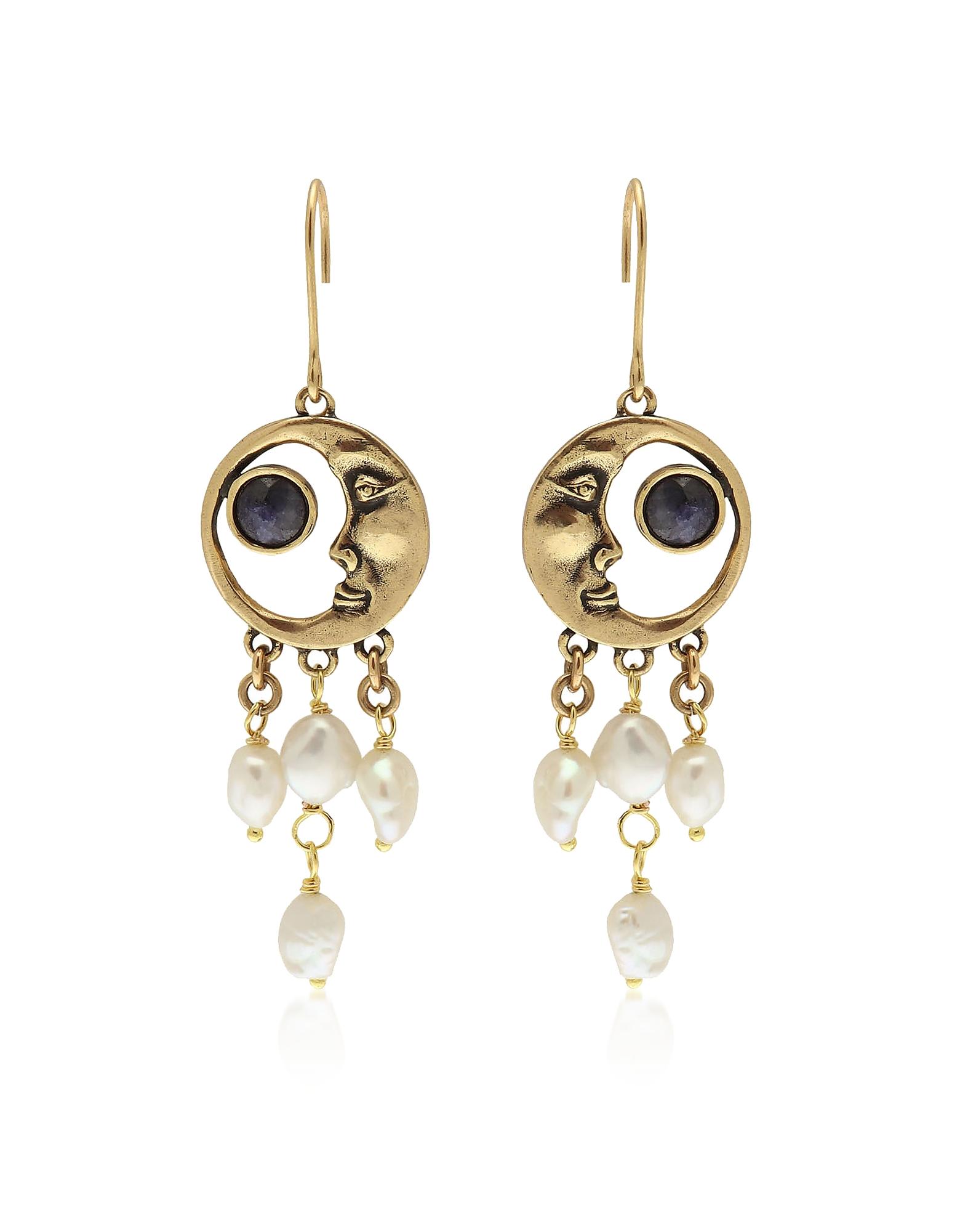 Forzieri coupon: Alcozer & J  Earrings Golden Brass Moon Earrings