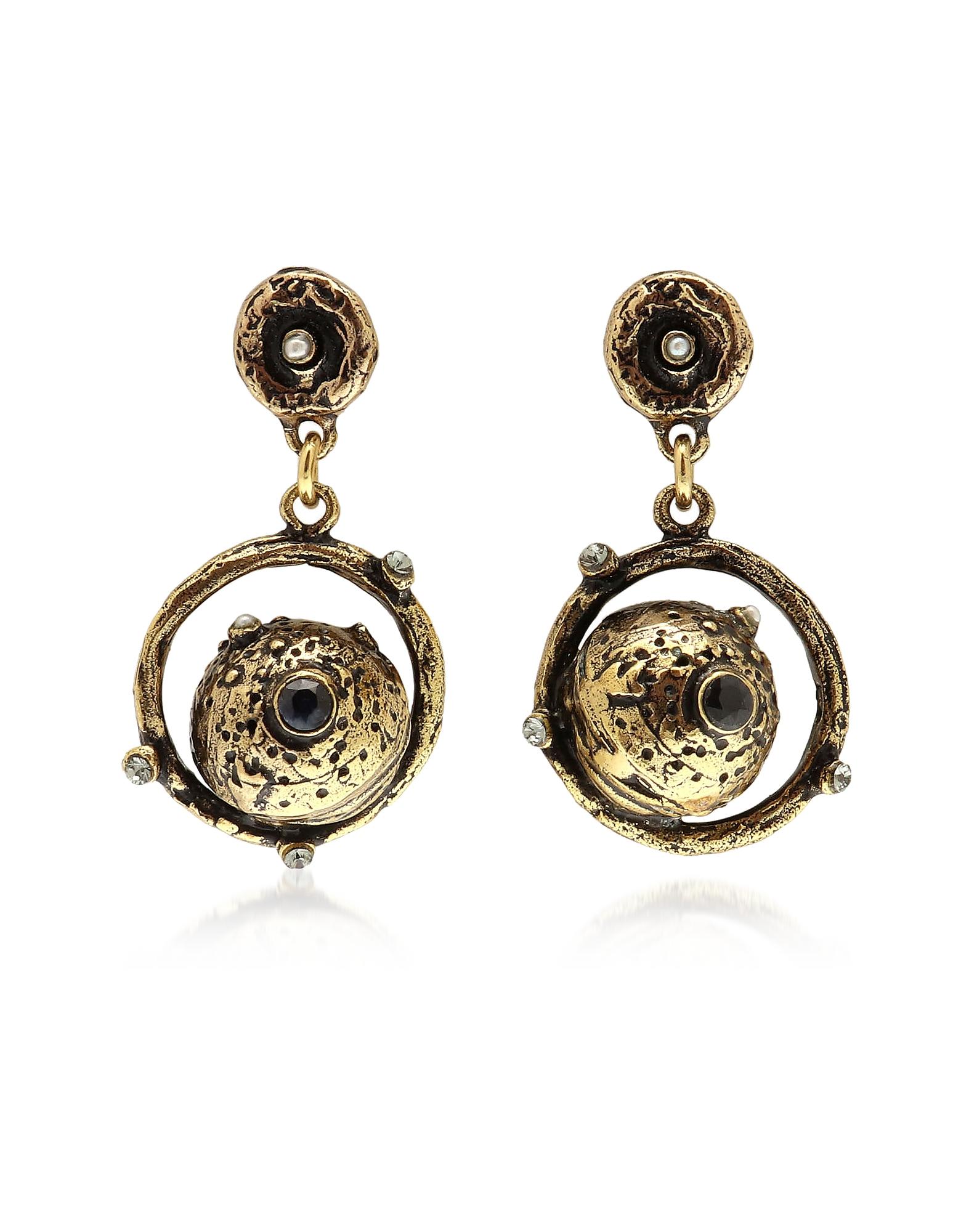 Forzieri coupon: Alcozer & J  Earrings Golden Brass Mars Earrings