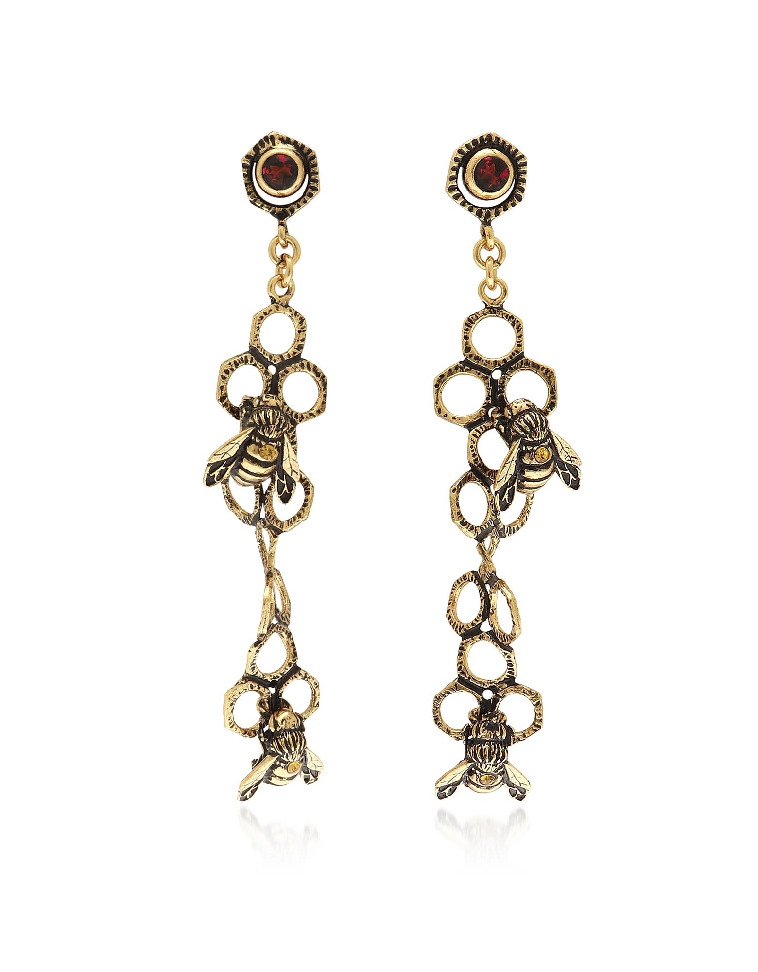 Forzieri coupon: Alcozer & J  Earrings Golden Brass Pollen Drop Earrings