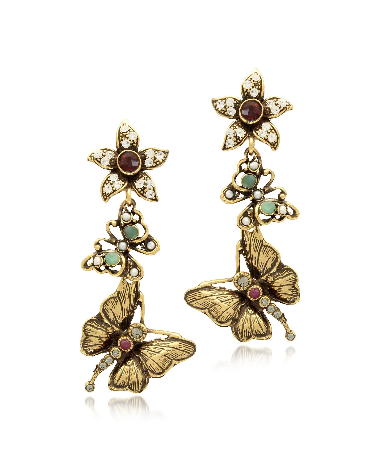 Forzieri coupon: Alcozer & J  Earrings Gemstone Gold Plated Brass Butterflies with Flower Earrings