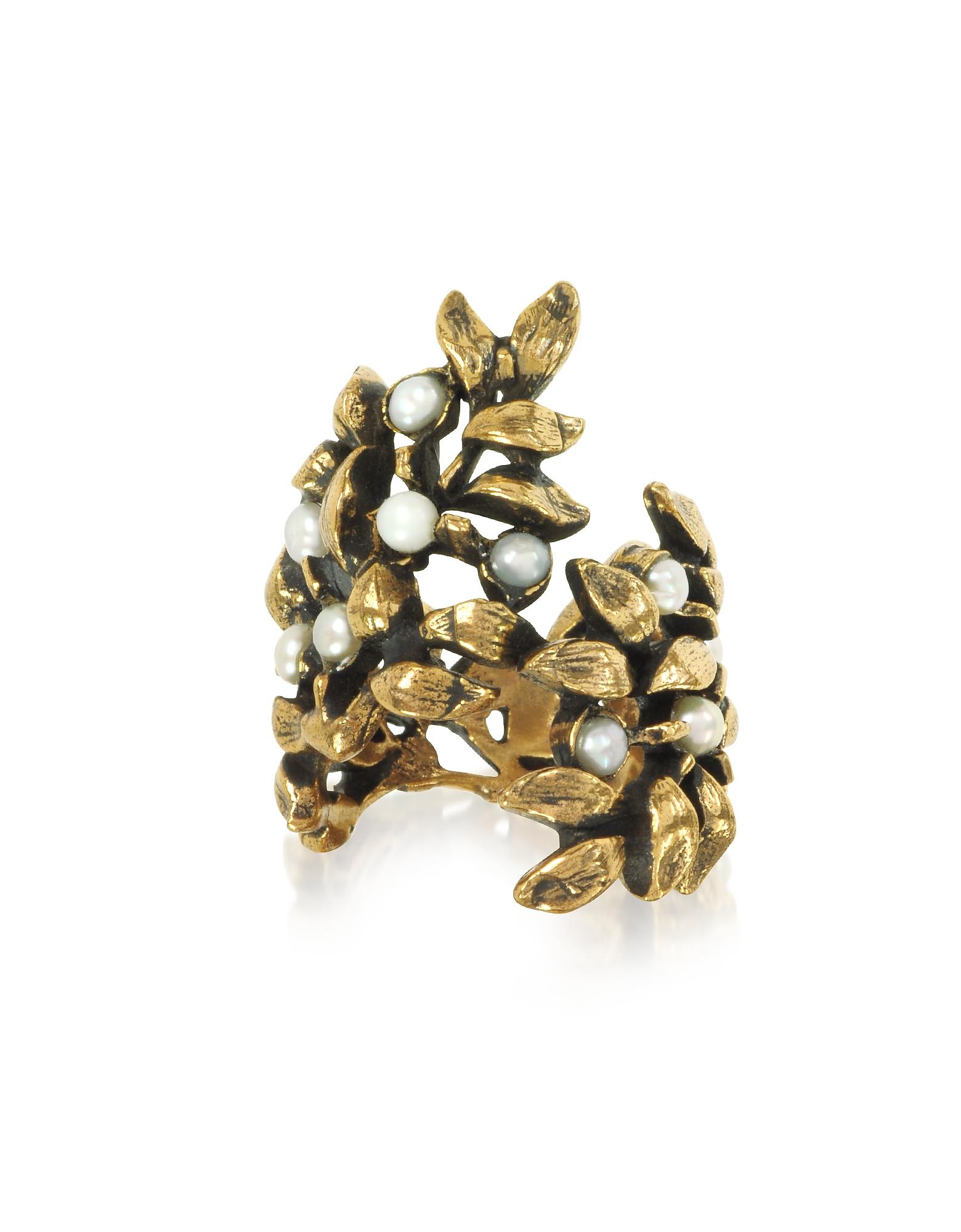 Forzieri coupon: Alcozer & J  Rings Mistletoe Brass Ring w/Glass Pearl
