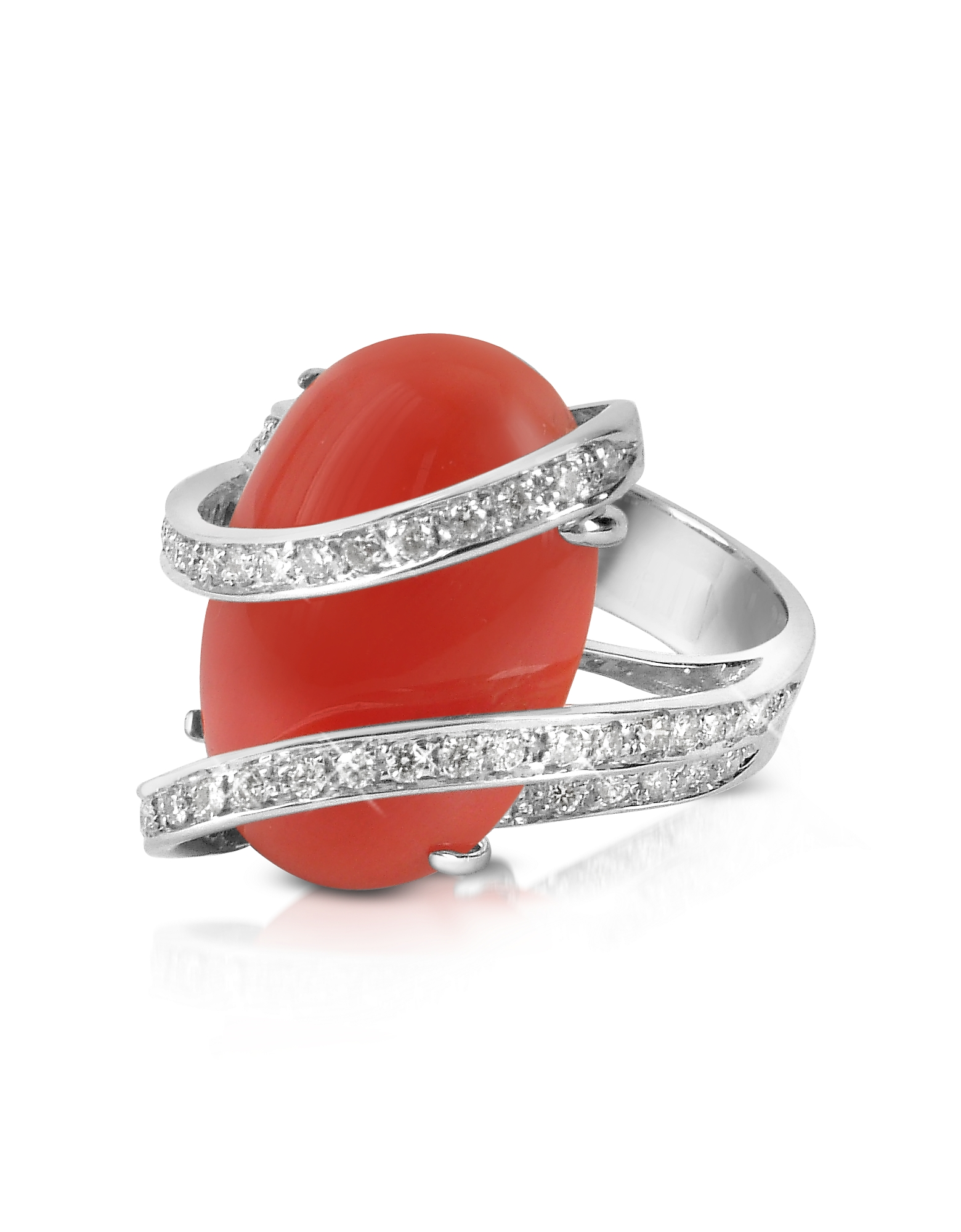 Del Gatto Designer Rings, Red Coral Diamond Channel 18K Gold Ring