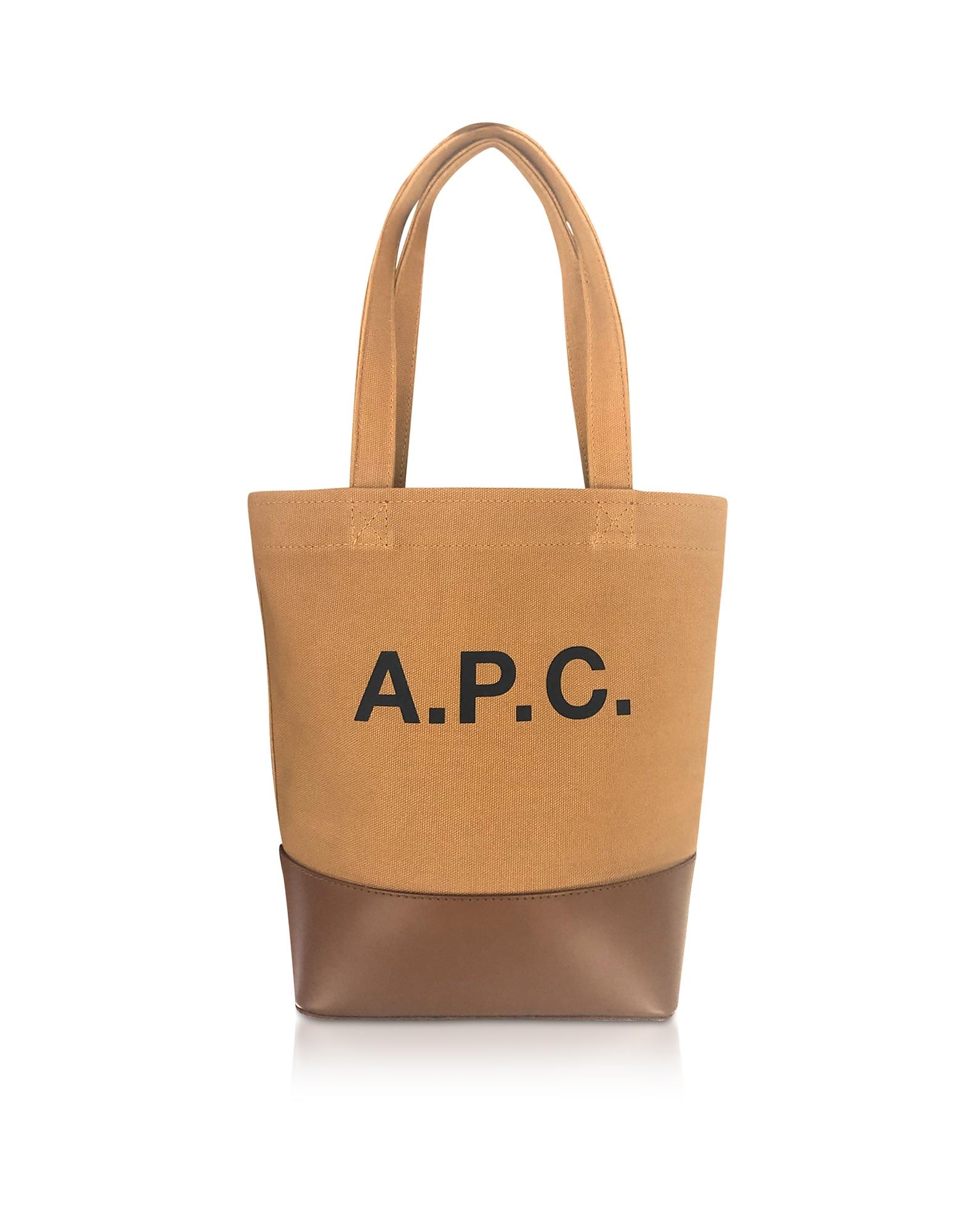 A.P.C. Designer Handbags, Camel Small Axelle Tote Bag