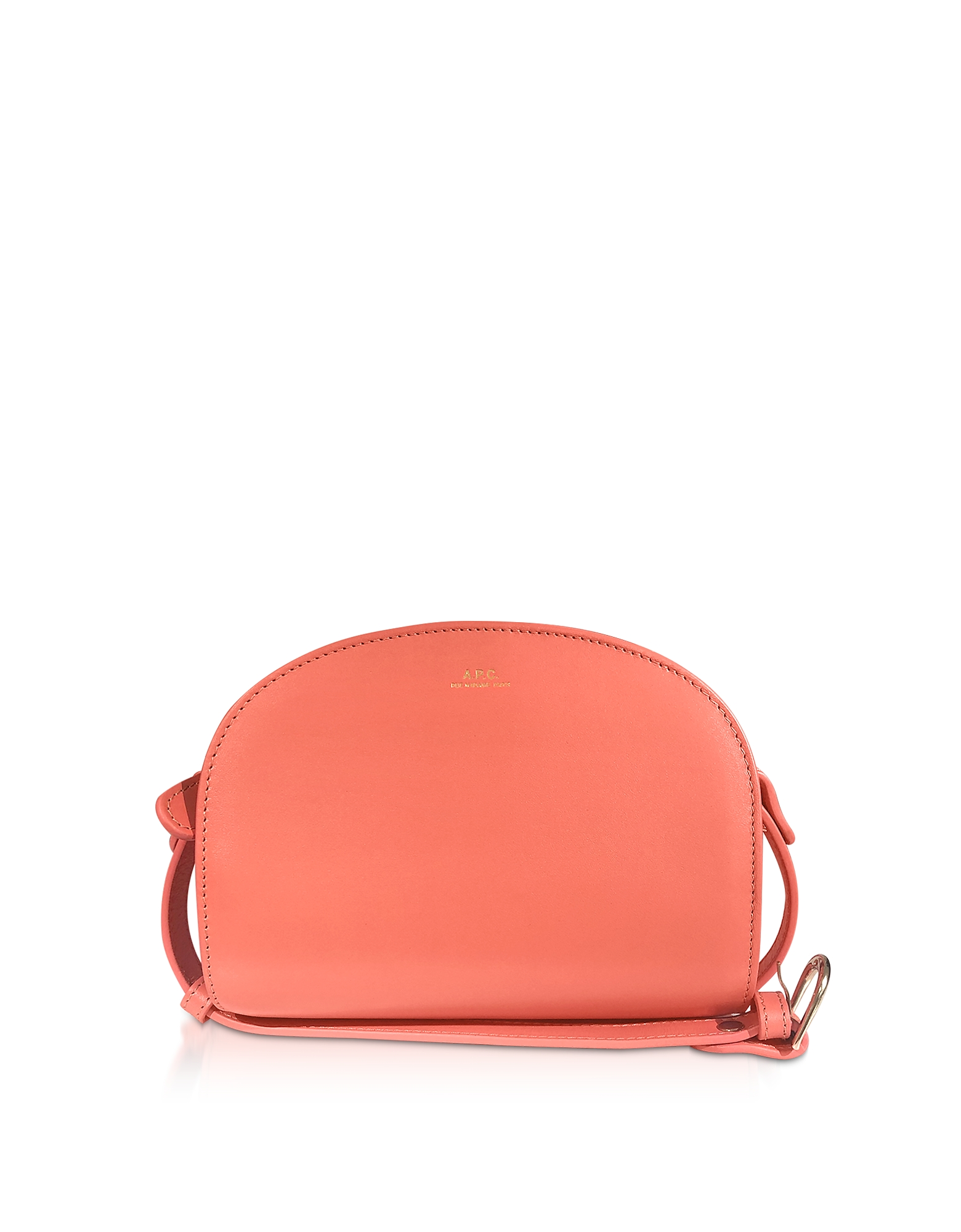 A.P.C. Designer Handbags, Coral Leather Half Moon Mini Shoulder Bag