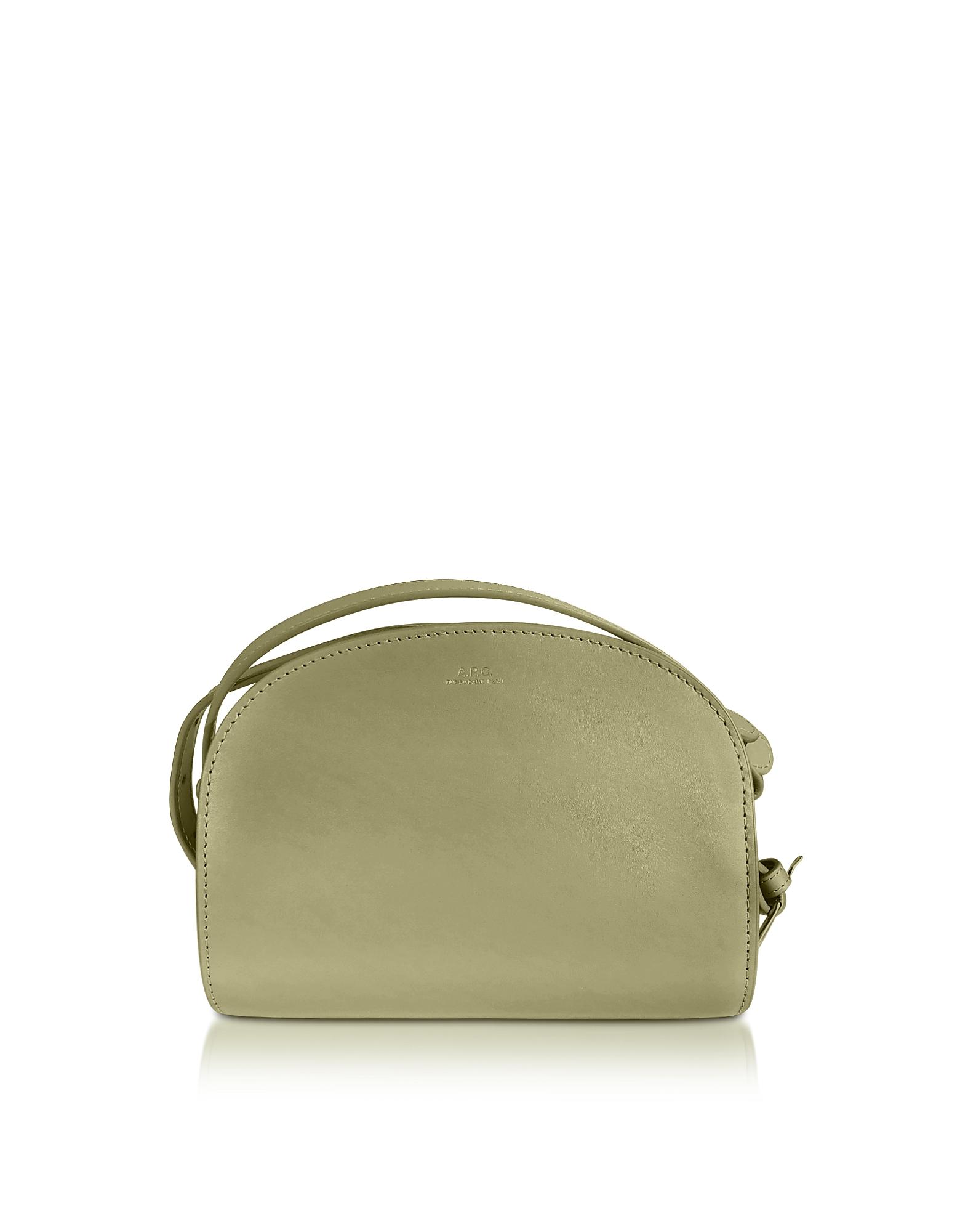 A.P.C. Designer Handbags, Green Leather Mini Demi-Lune Crossbody Bag