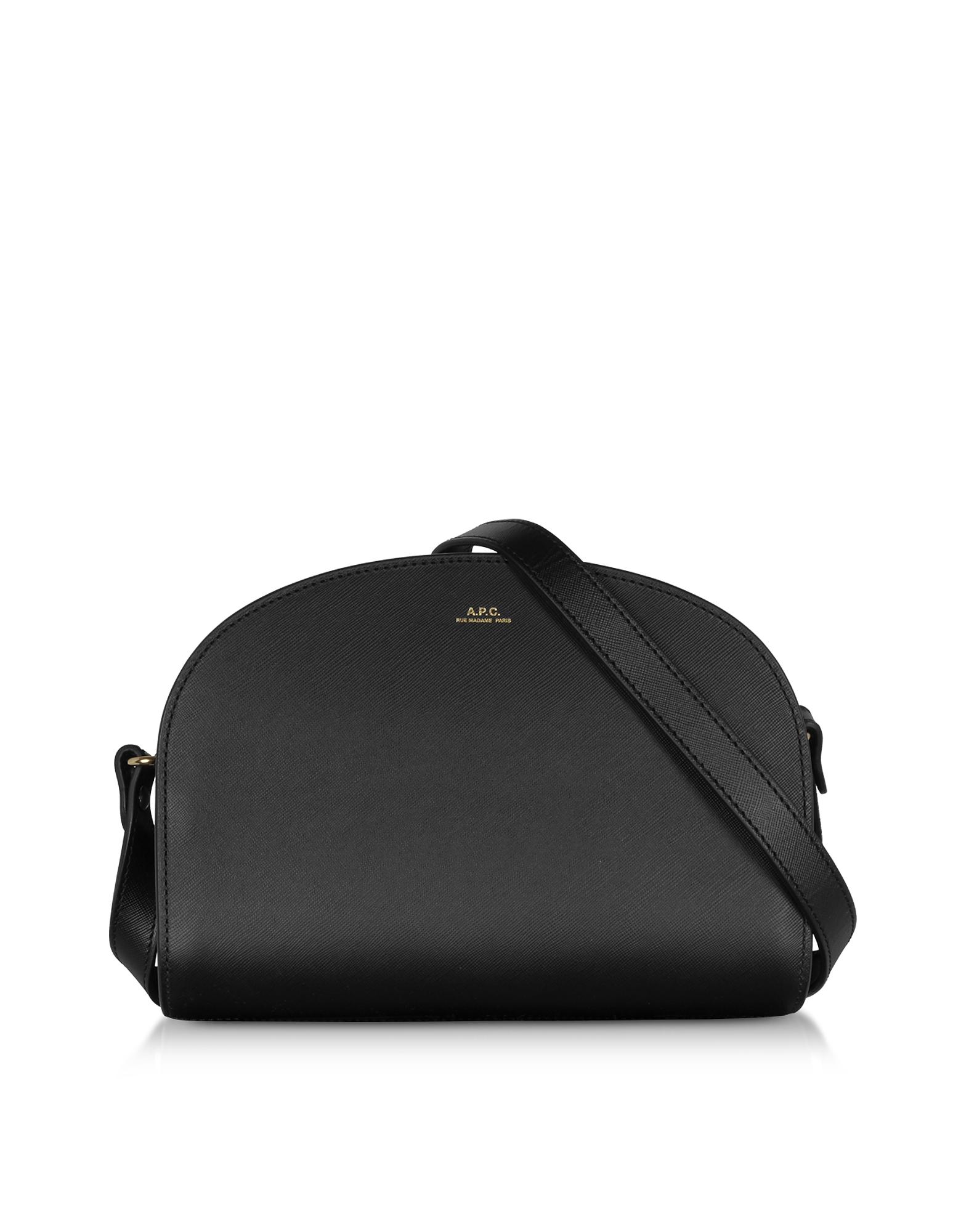 A.P.C. Designer Handbags, Black Embossed Leather Demi-Lune Shoulder Bag