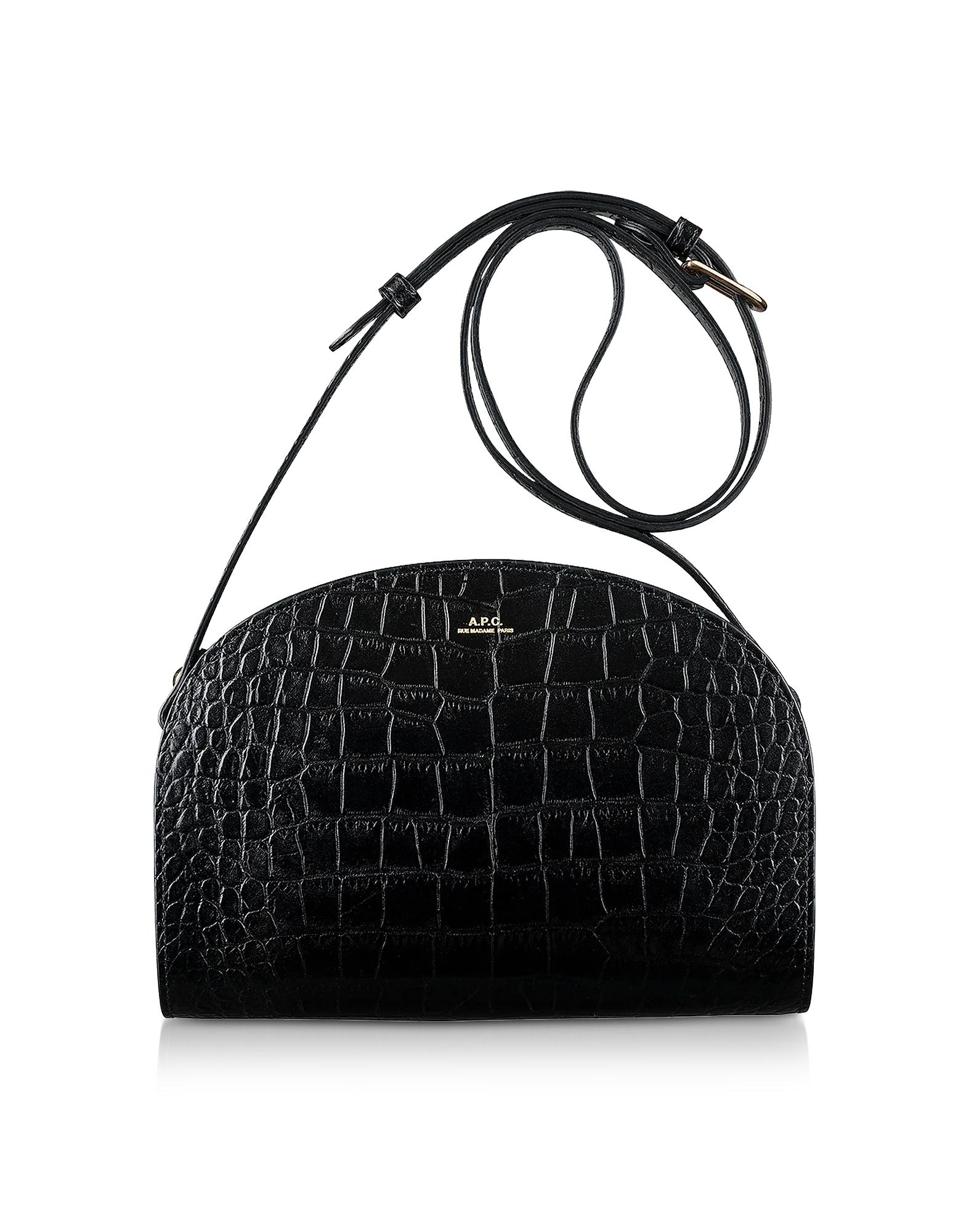 A.P.C. Designer Handbags, Black Croco Embossed Leather Demi-Lune Shoulder Bag