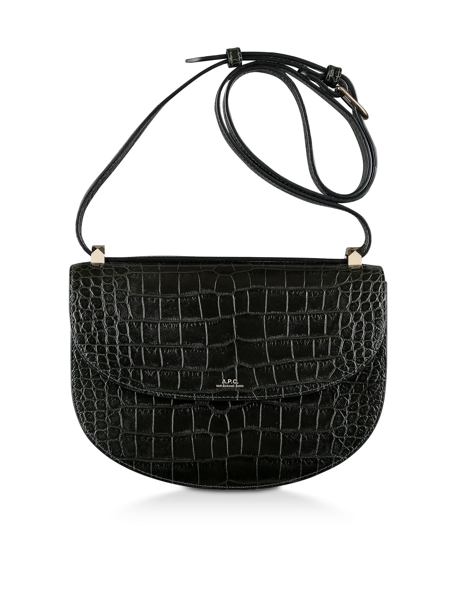A.P.C. Designer Handbags, Dark Green Croco Embossed Leather Geneve Crossbody Bag