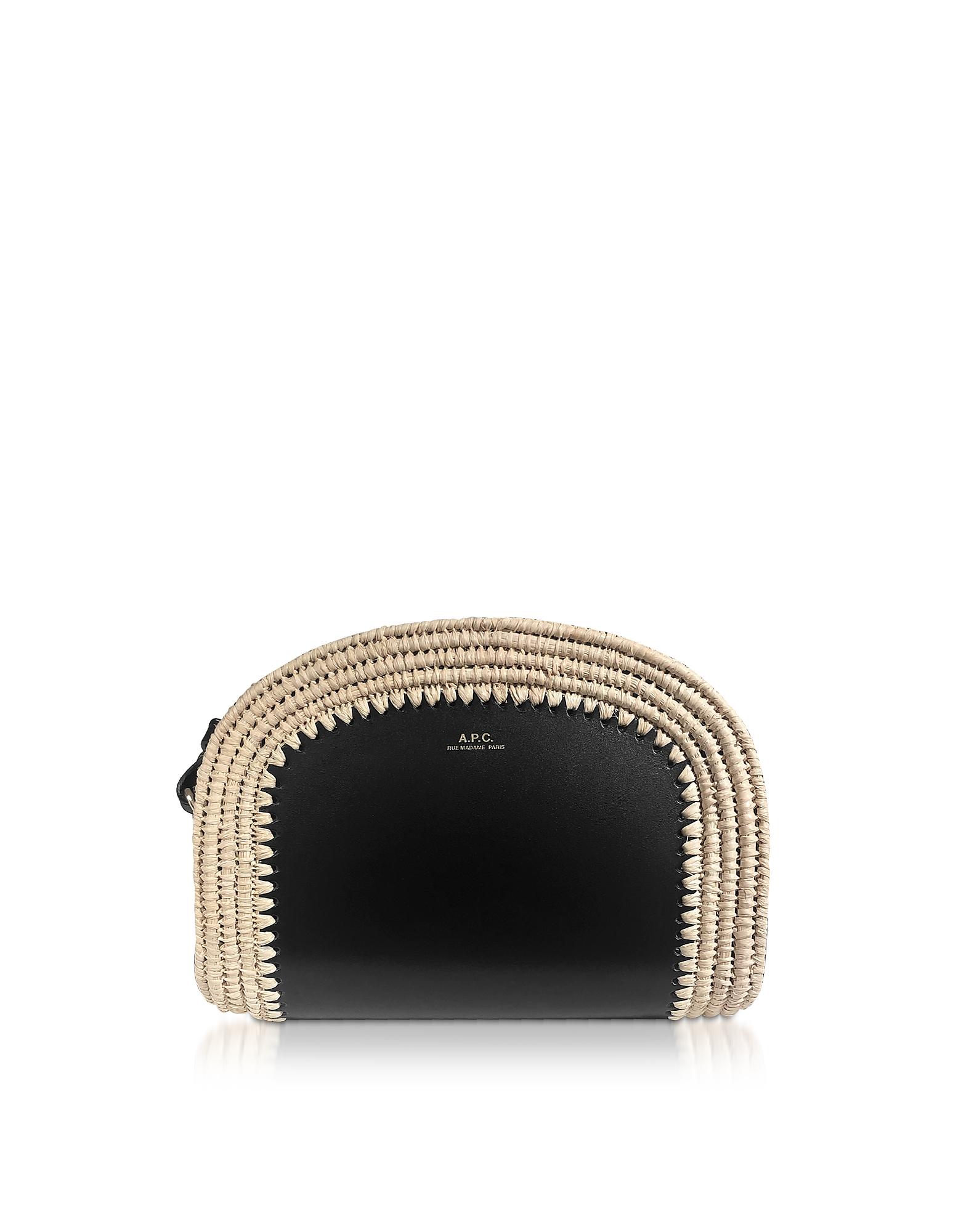 A.P.C. Designer Handbags, Woven Straw & Black Leather Mini Demi-Lune Crossbody Bag