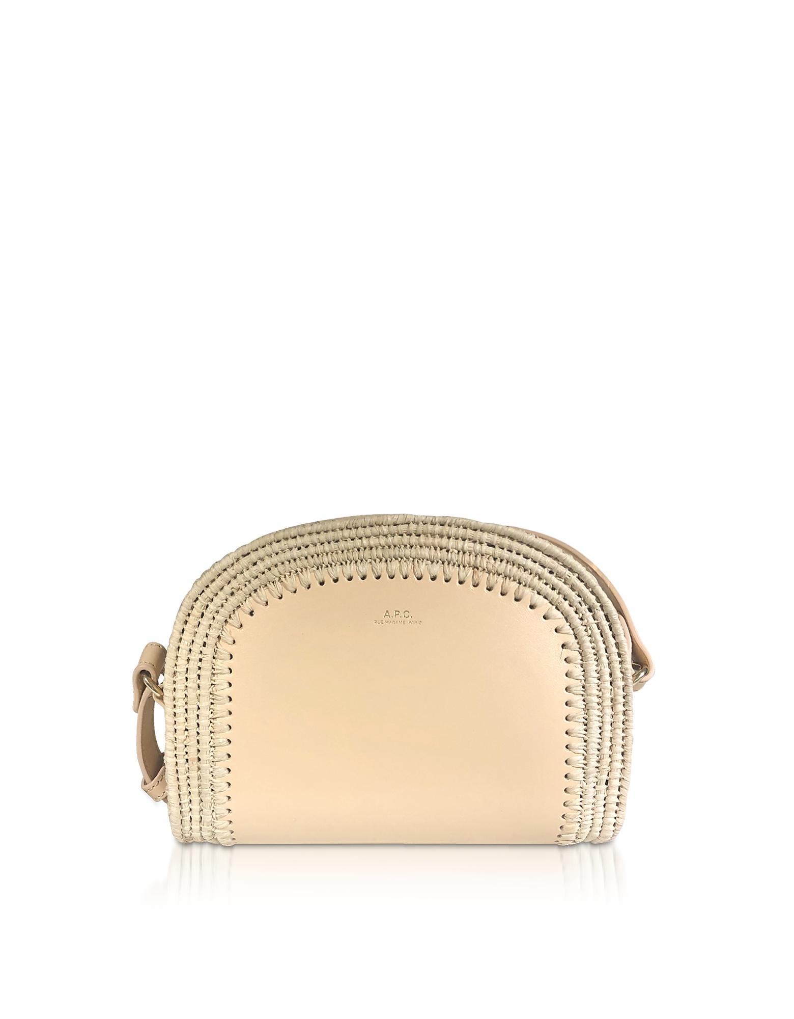 A.P.C. Designer Handbags, Woven Straw & Natural Beige Leather Mini Demi-Lune Crossbody Bag