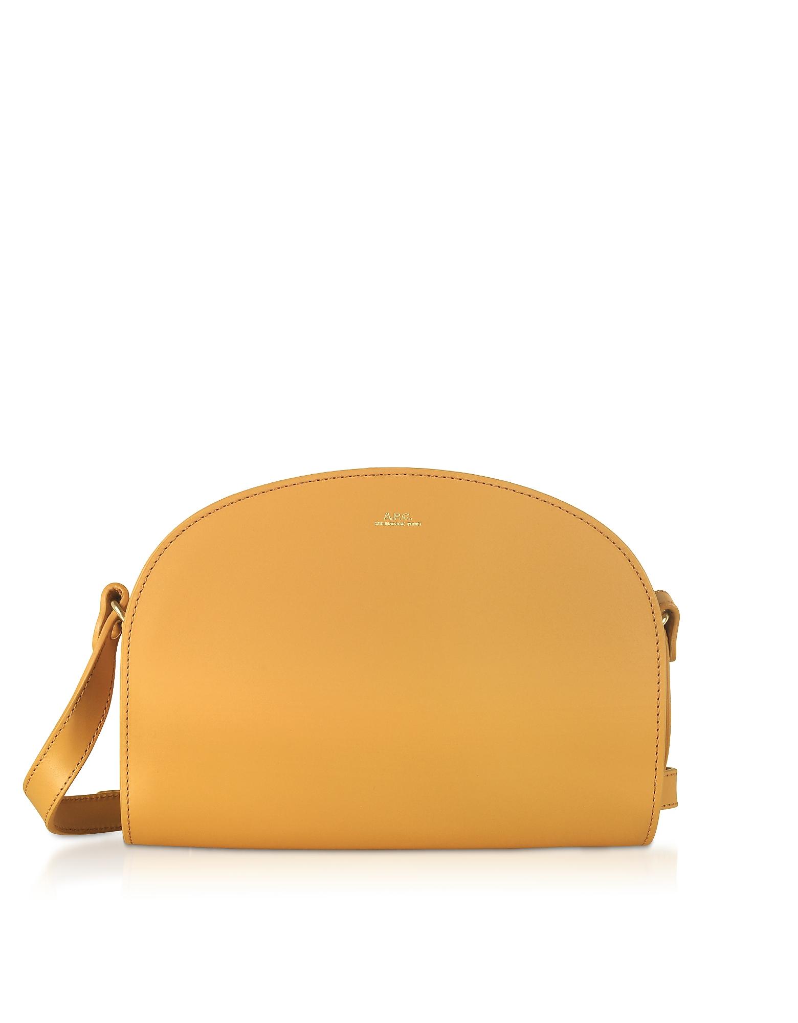 A.P.C. Designer Handbags, Half Moon Smooth Leather Crossbody Bag