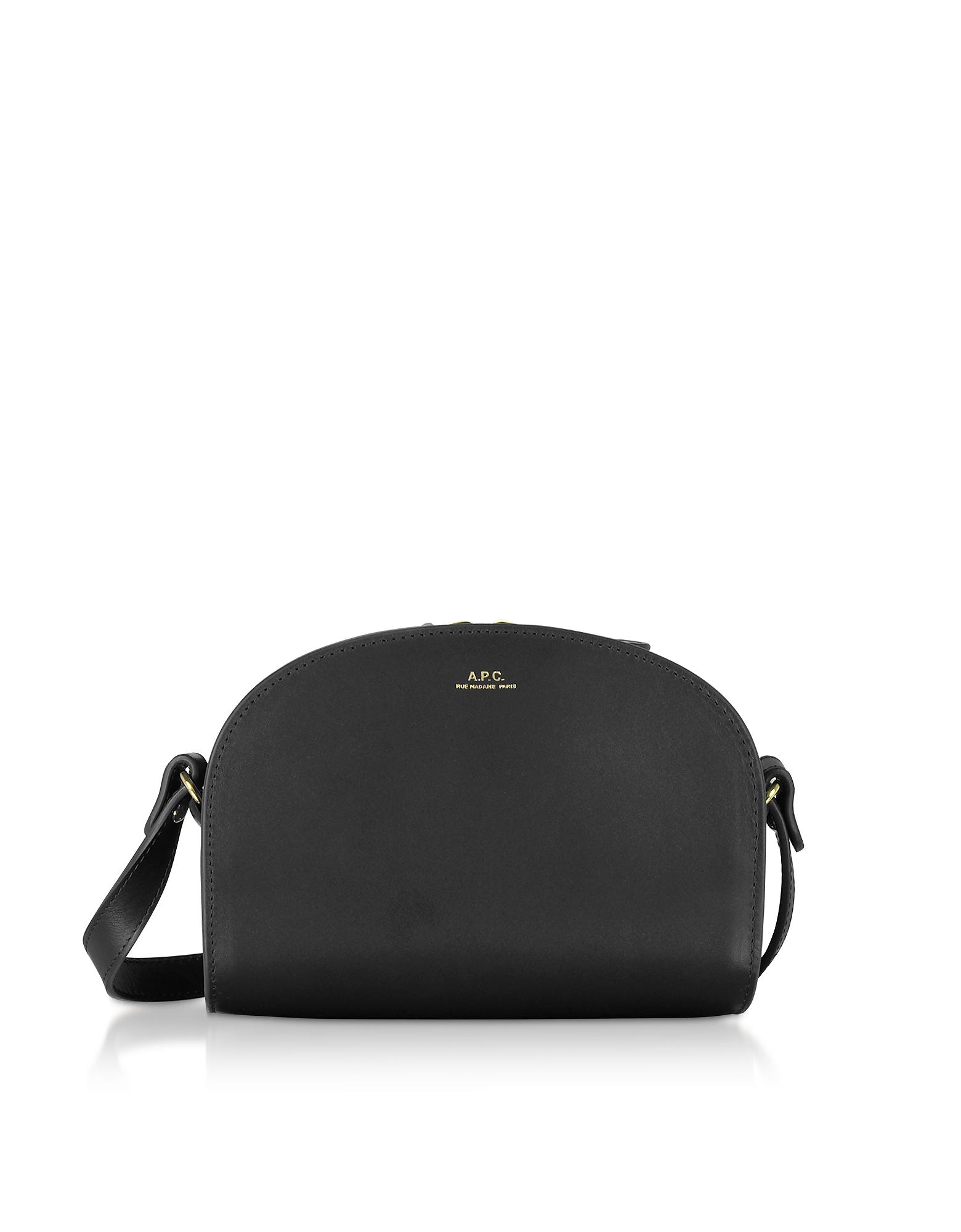 A.P.C. Designer Handbags, Genuine Leather Half Moon Mini Shoulder Bag