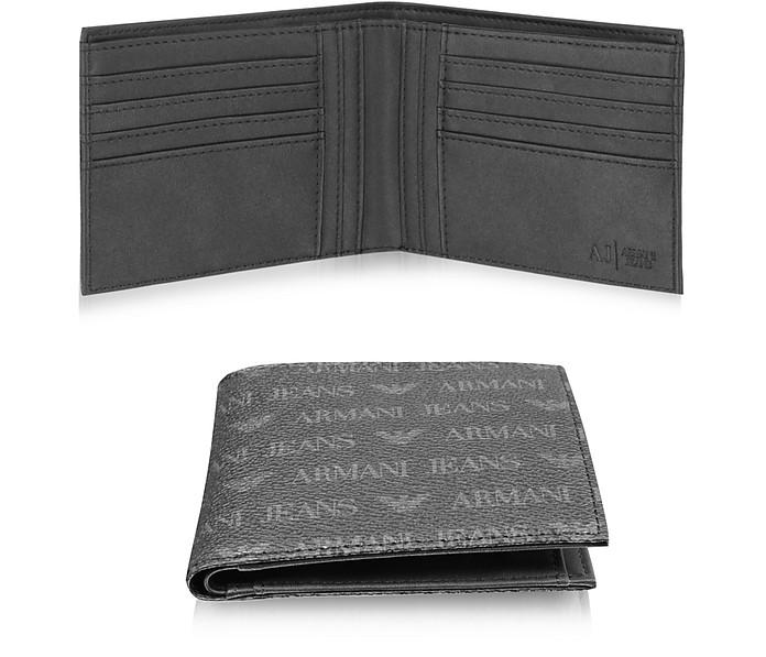 Armani Jeans  BLACK SIGNATURE ECO LEATHER BI-FOLD MEN'S WALLET