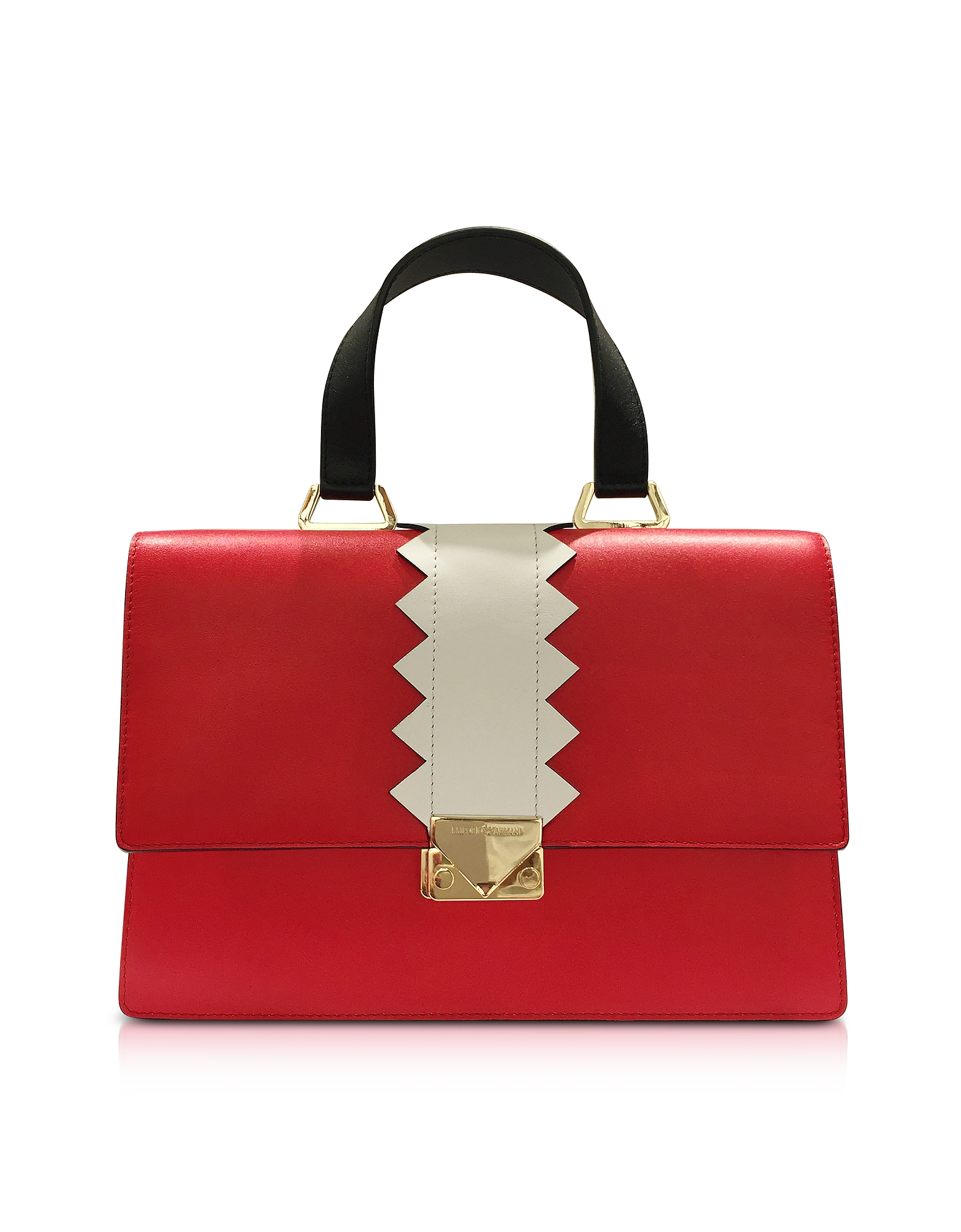 Emporio Armani Red Smooth Leather Satchel Bag  d82cf7794d673