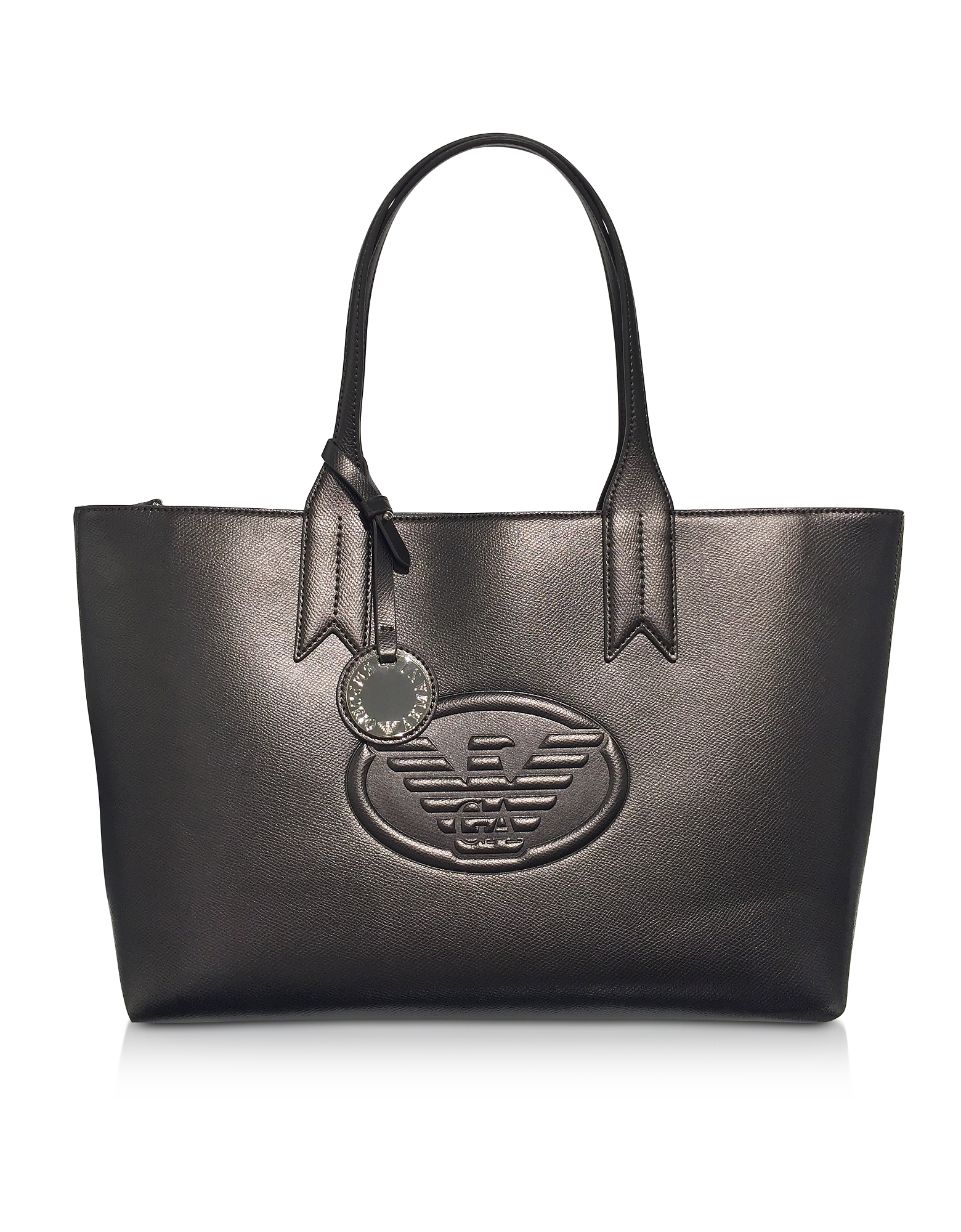 3a490c04abb0 Emporio Armani Dark Gray Steel Embossed Logo Large Tote Bag ...