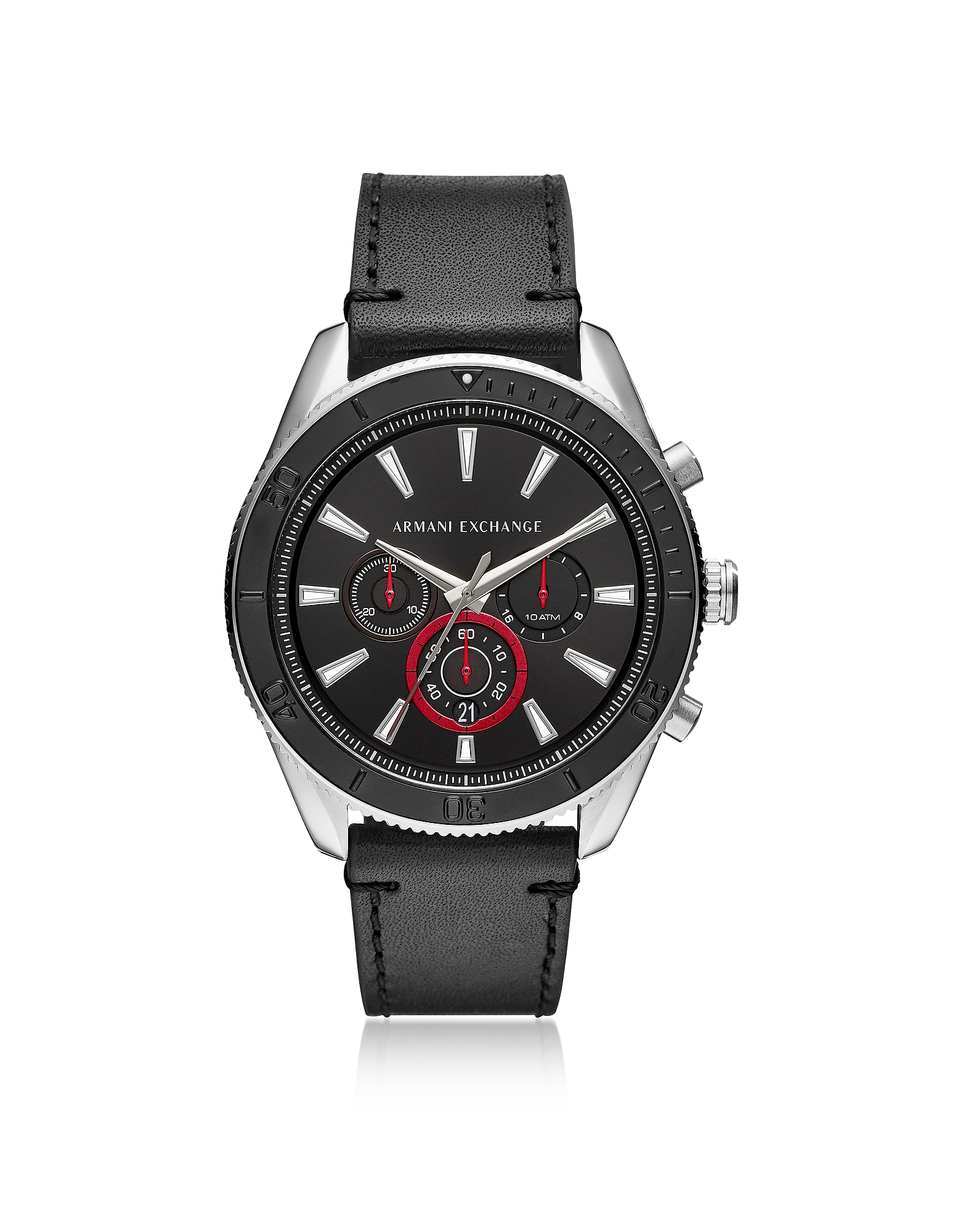 Image of AIX Black Dial and Black Leather Men's Chronograph Watch is professional and sporty lending a dynamic touch to your sophisticated style. Featuring 46mm silver tone stainless steel round case, black dial, black bezel, three subdials, stick indices, seconds