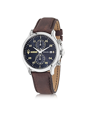 Epoca Chronograph Navy Blue Dial and Brown Leather Strap Men's Watch