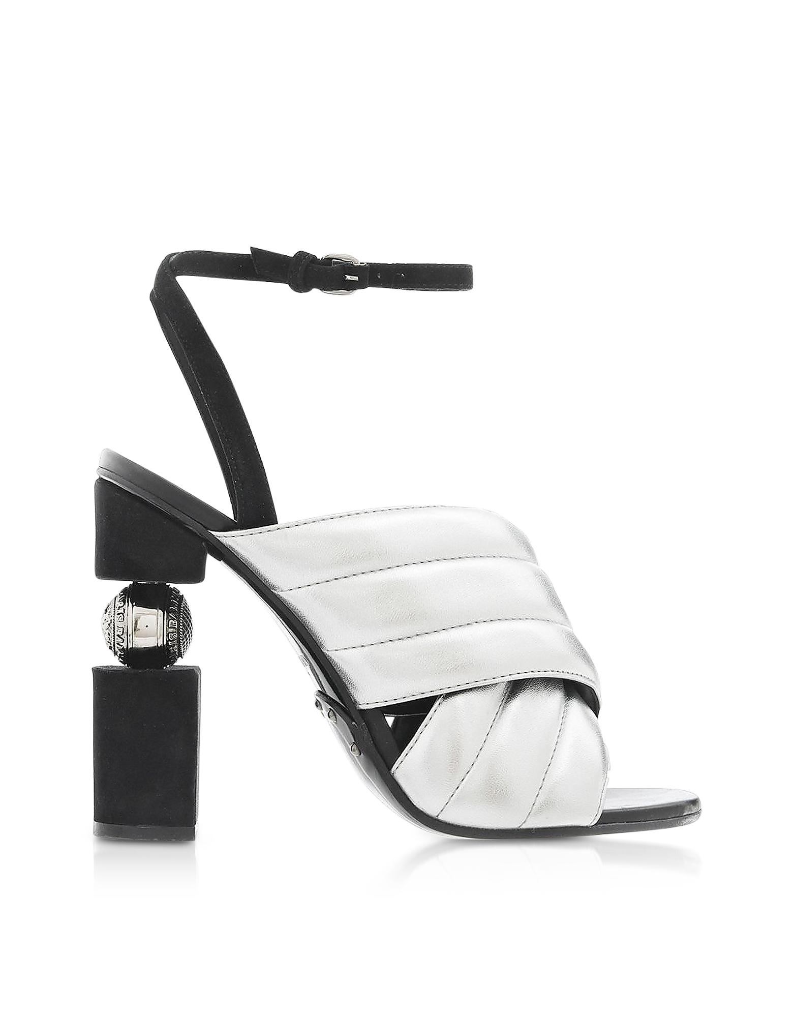 Balmain Designer Shoes, Jana Silver Laminated High Heel Sandals