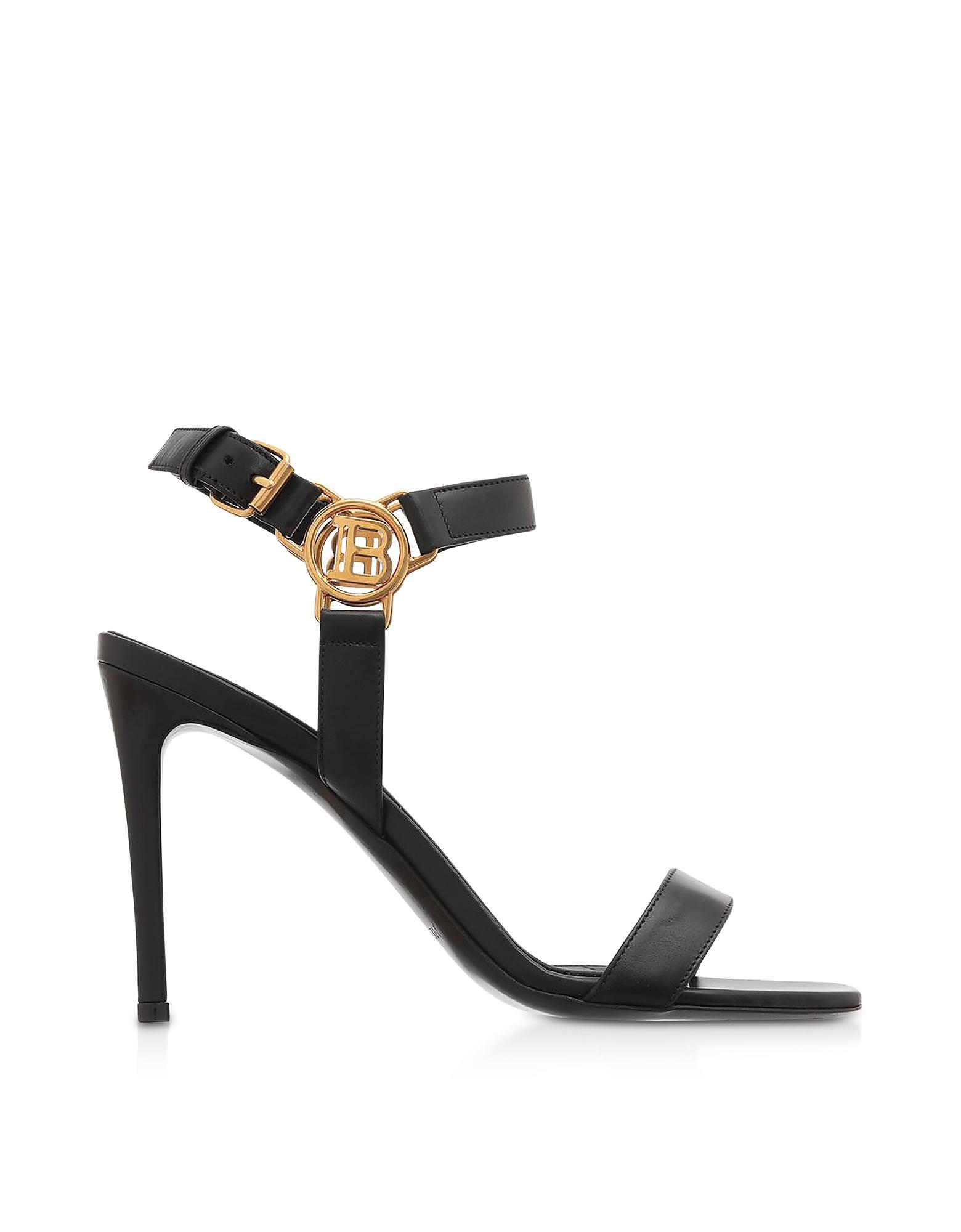 Balmain Designer Shoes, Black Leather High Heel Sandals