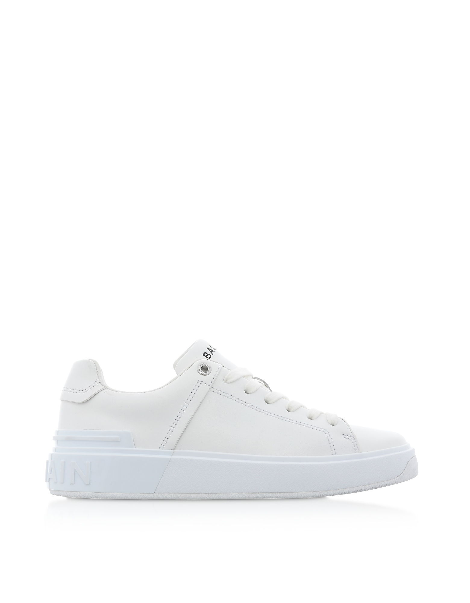 Balmain Designer Shoes, White Leather Lace up Women's Sneakers