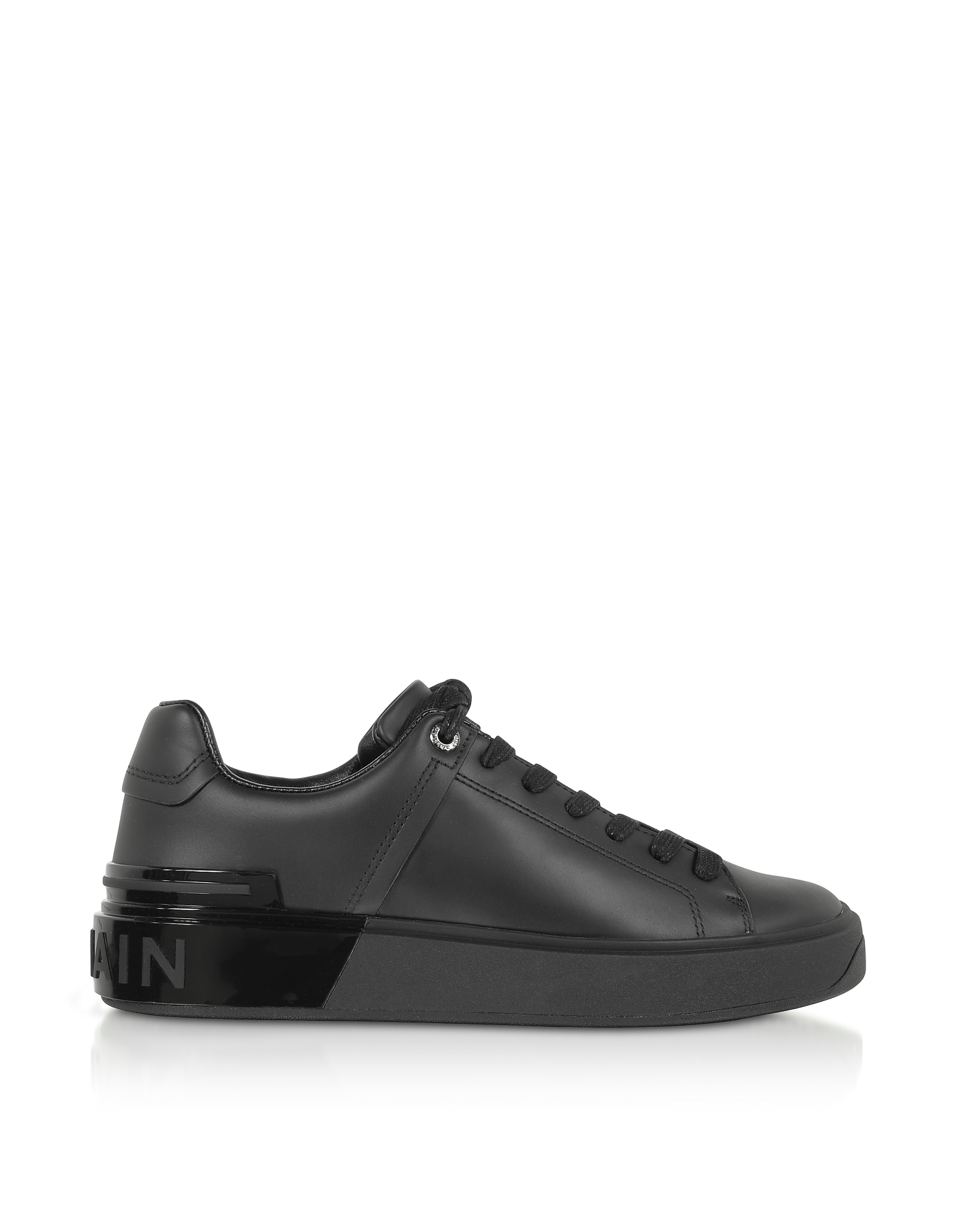 Balmain Designer Shoes, Black Leather Lace up Women's Sneakers