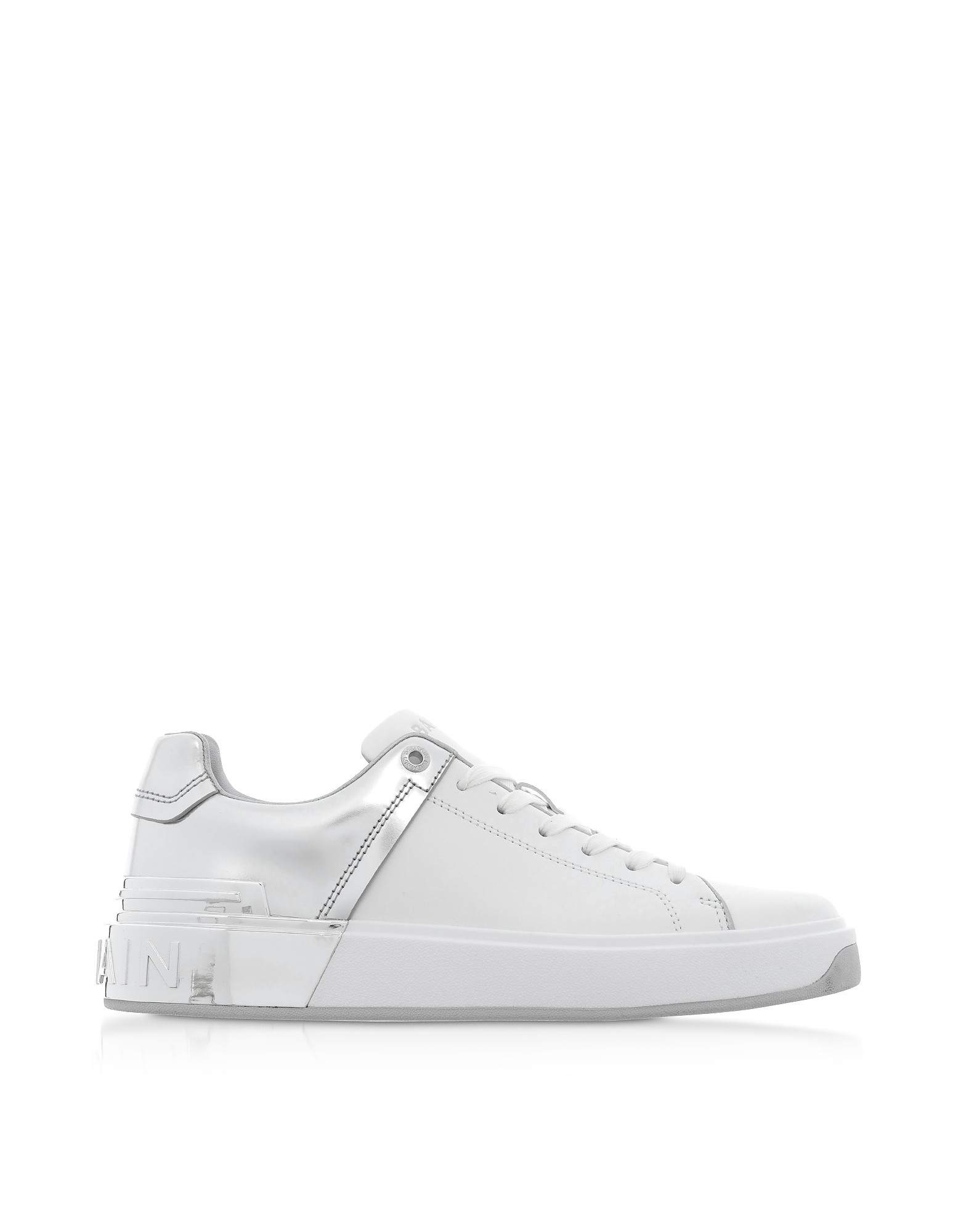 Balmain Designer Shoes, White & Silver Leather Lace up Women's Sneakers